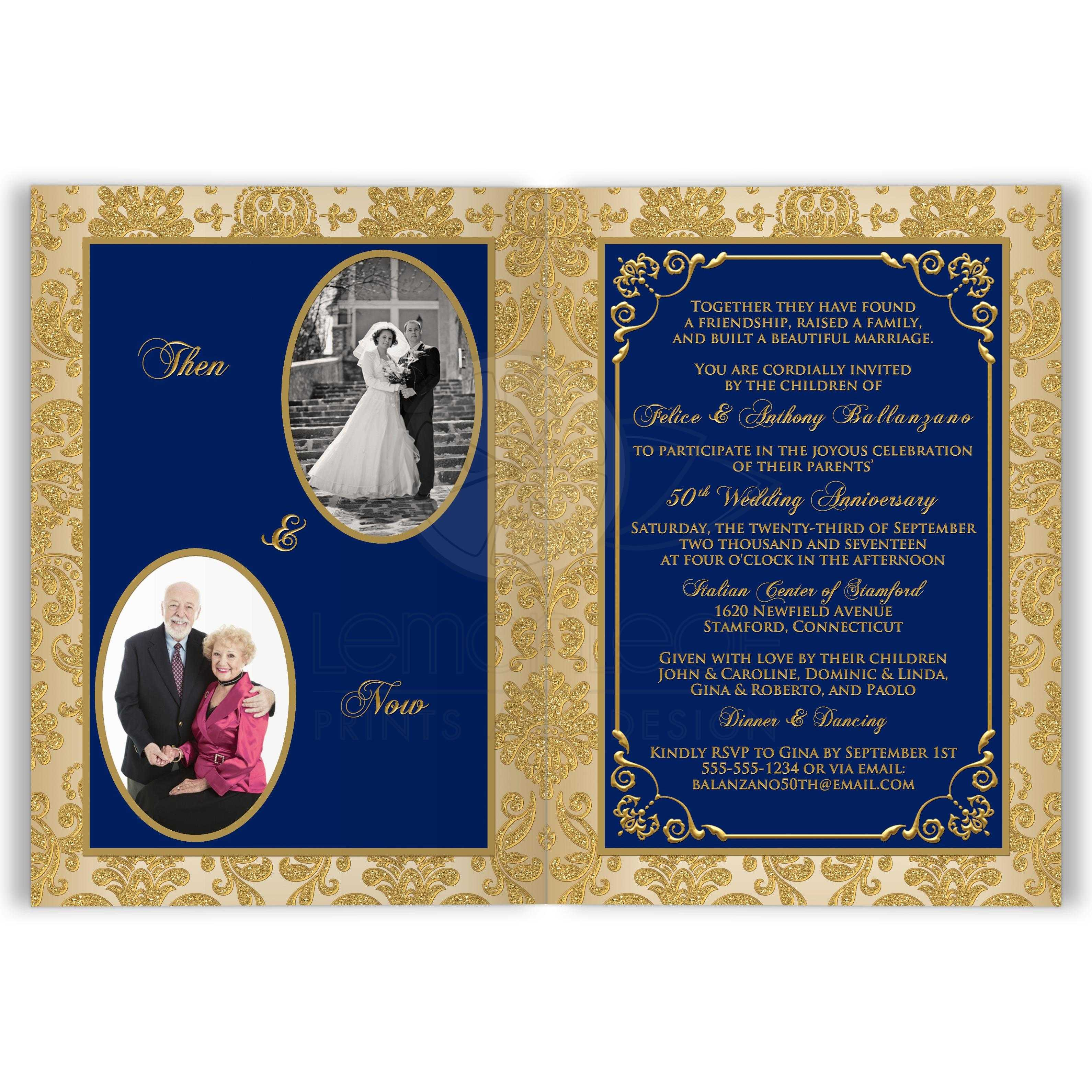Navy Ivory And Gold Damask Scrolls Any Anniversary Invitation Card Optional Photos