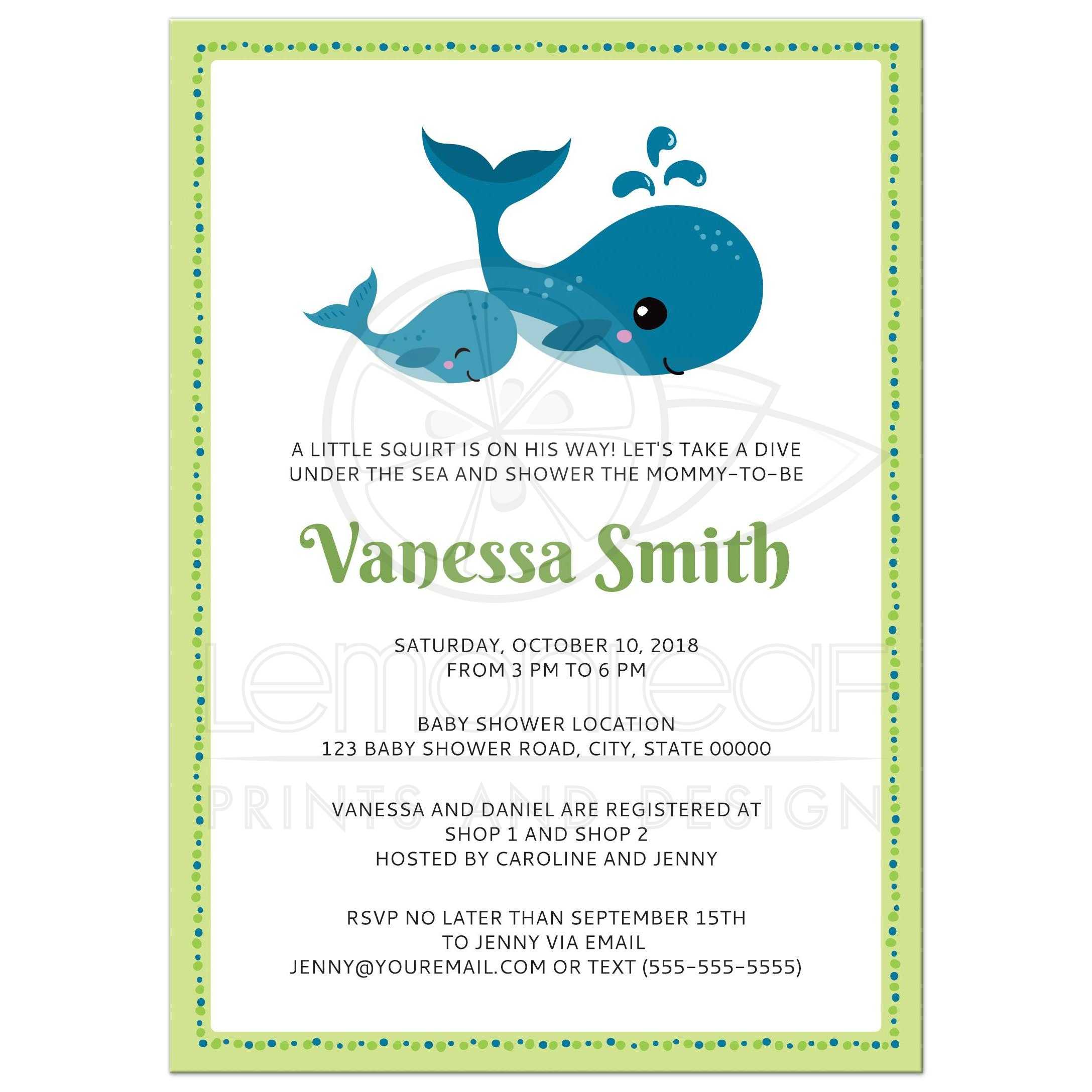 Whale baby shower invitation | Lime green and blue | A7