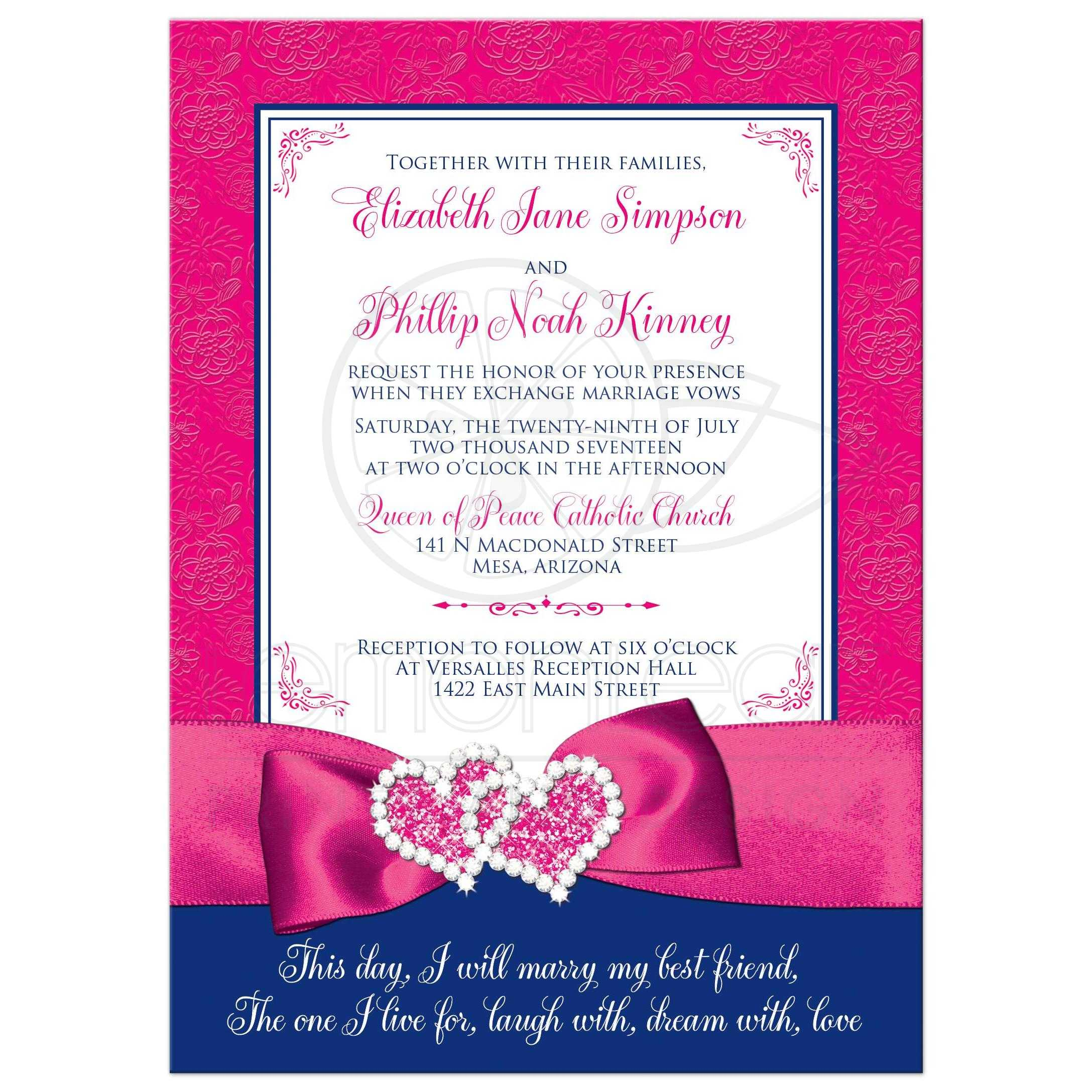 Royal Blue Pink And White Floral Pattern Wedding Invitations With Ribbon