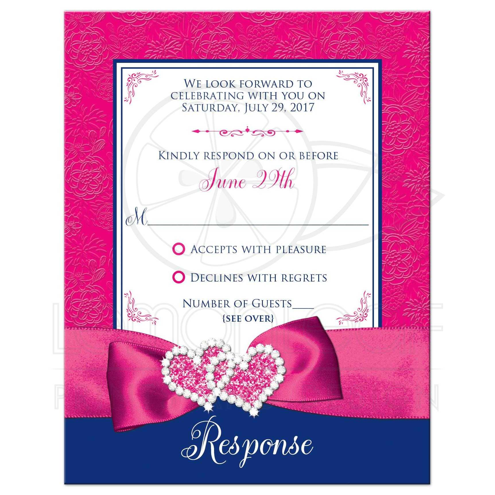 Wedding response card printed ribbon double hearts royal blue best royal blue pink and white floral pattern wedding response reply rsvp enclosure stopboris Choice Image