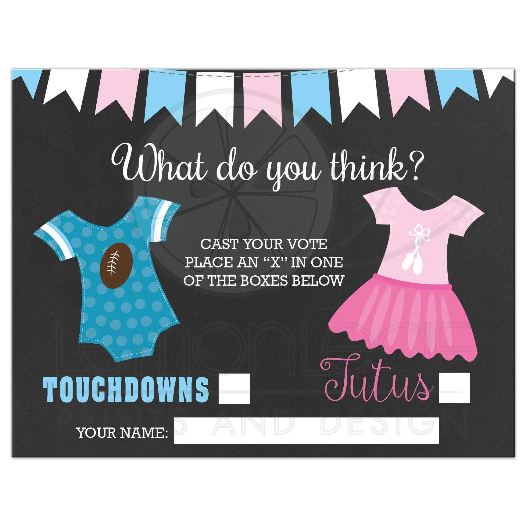 Touchdowns or Tutus Gender Reveal Baby Shower Voting Ballot – Baby Gender Announcement Cards