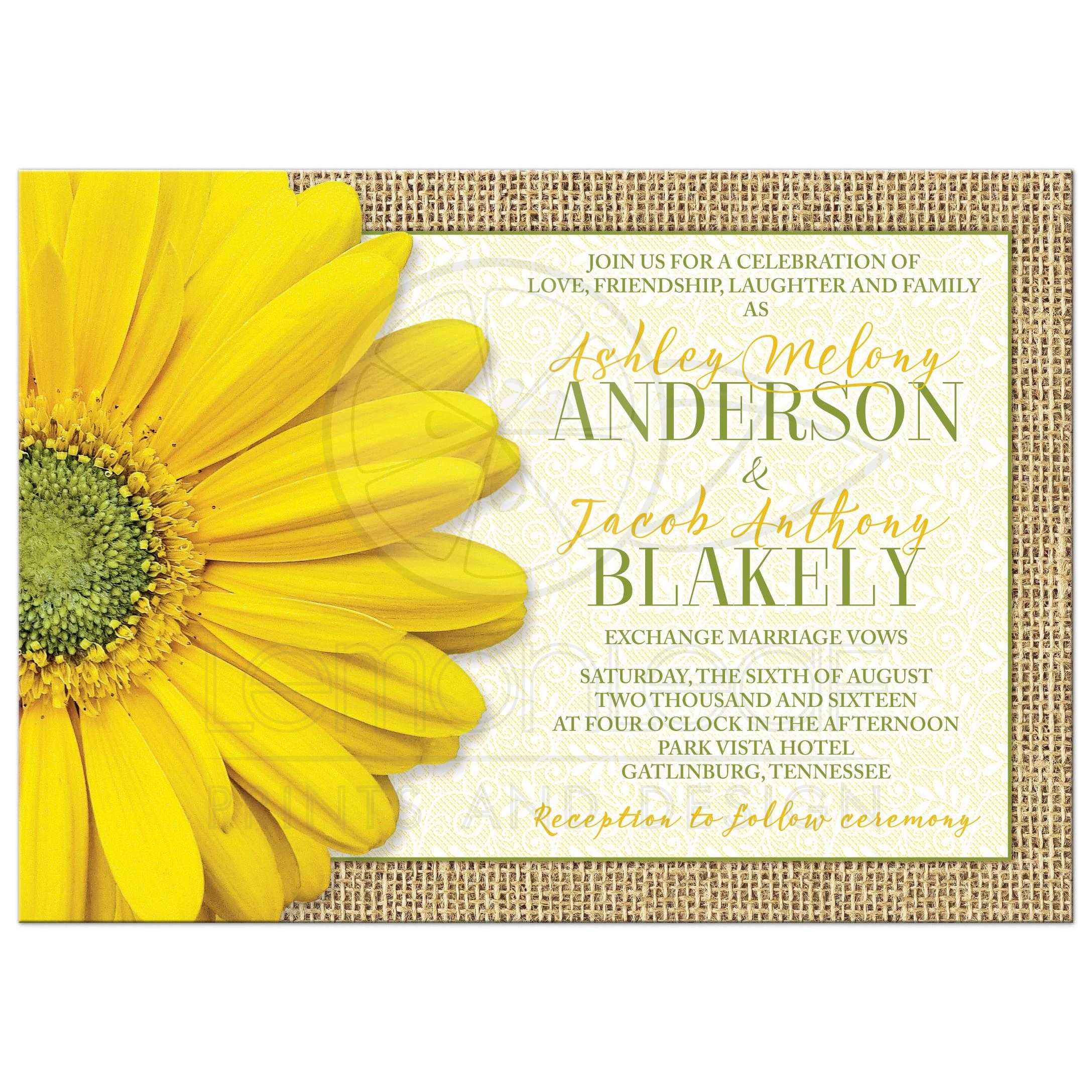 Rustic Daisy Wedding Invitations: Rustic Yellow Daisy Burlap Lace Wedding Invitation