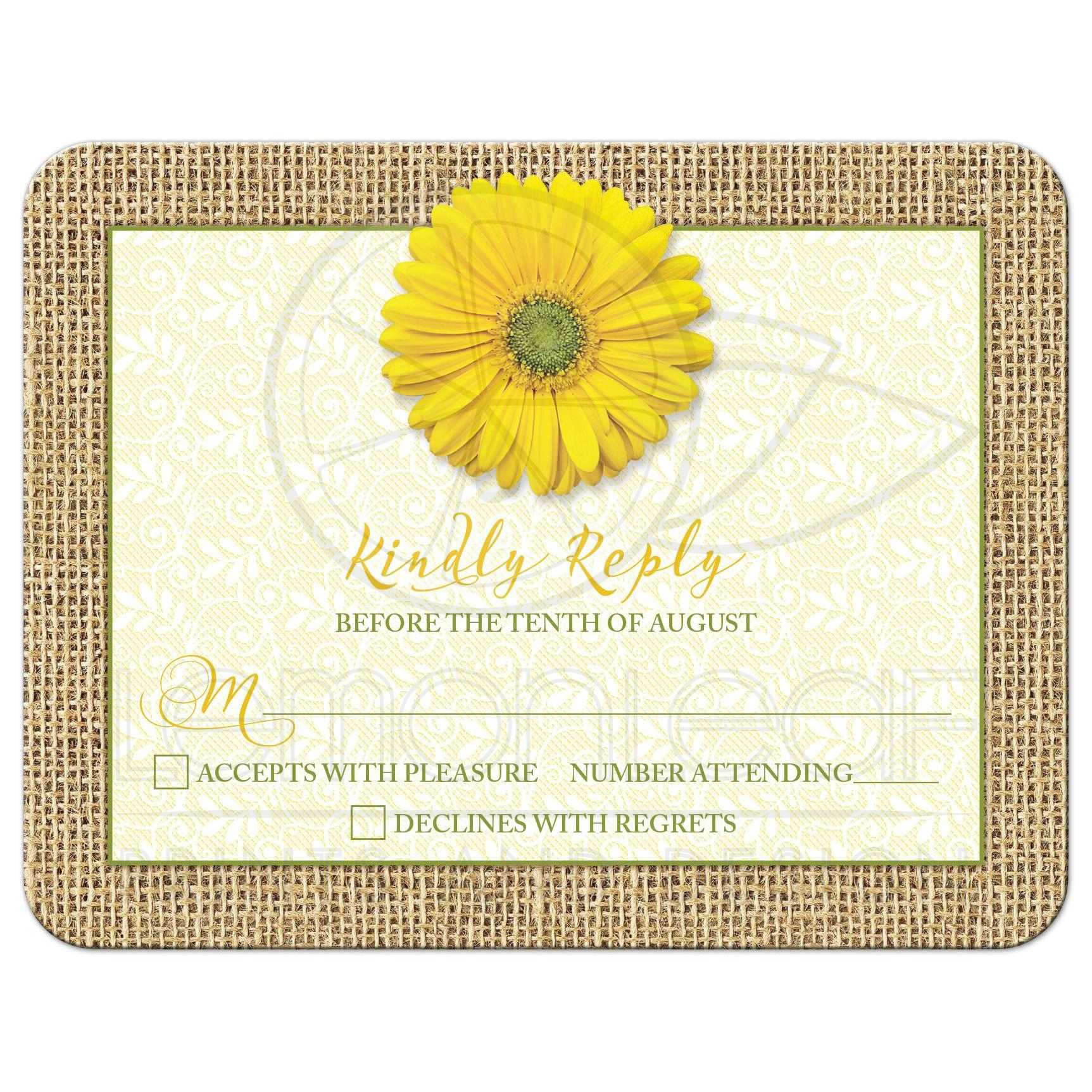 Rustic Yellow Daisy Burlap Lace Wedding RSVP Card