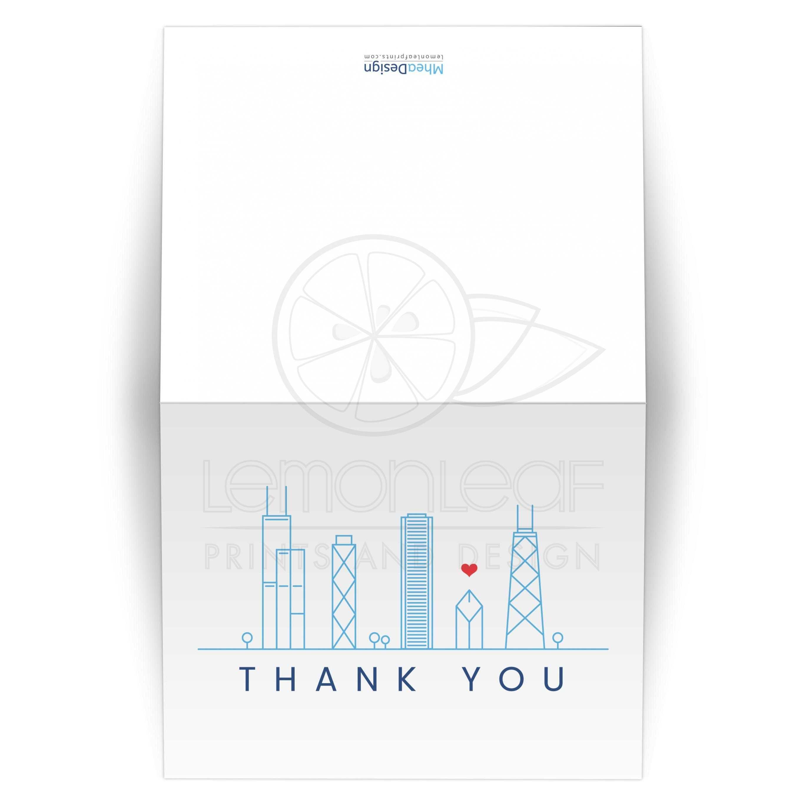 modern chicago skyline thank you card