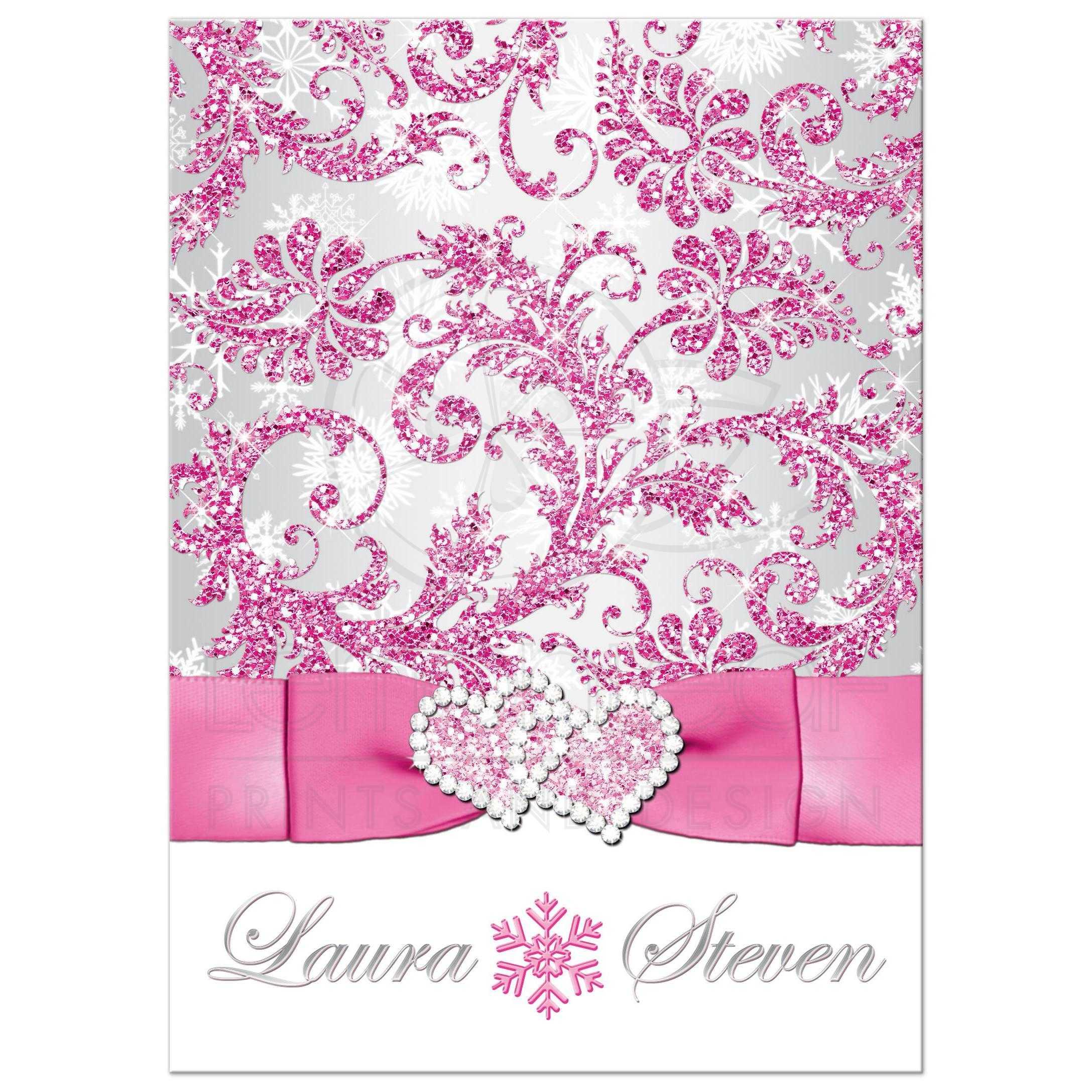 Winter Wonderland Wedding Invitation Frosty Pink Silver White