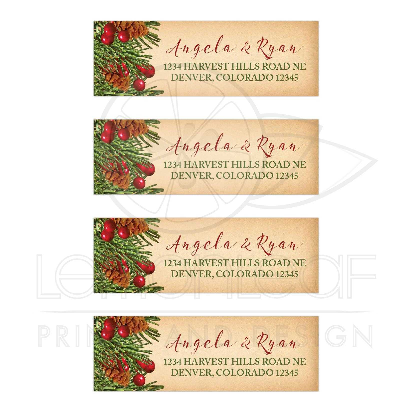 christmas address labels wedding traditional vintage evergreen