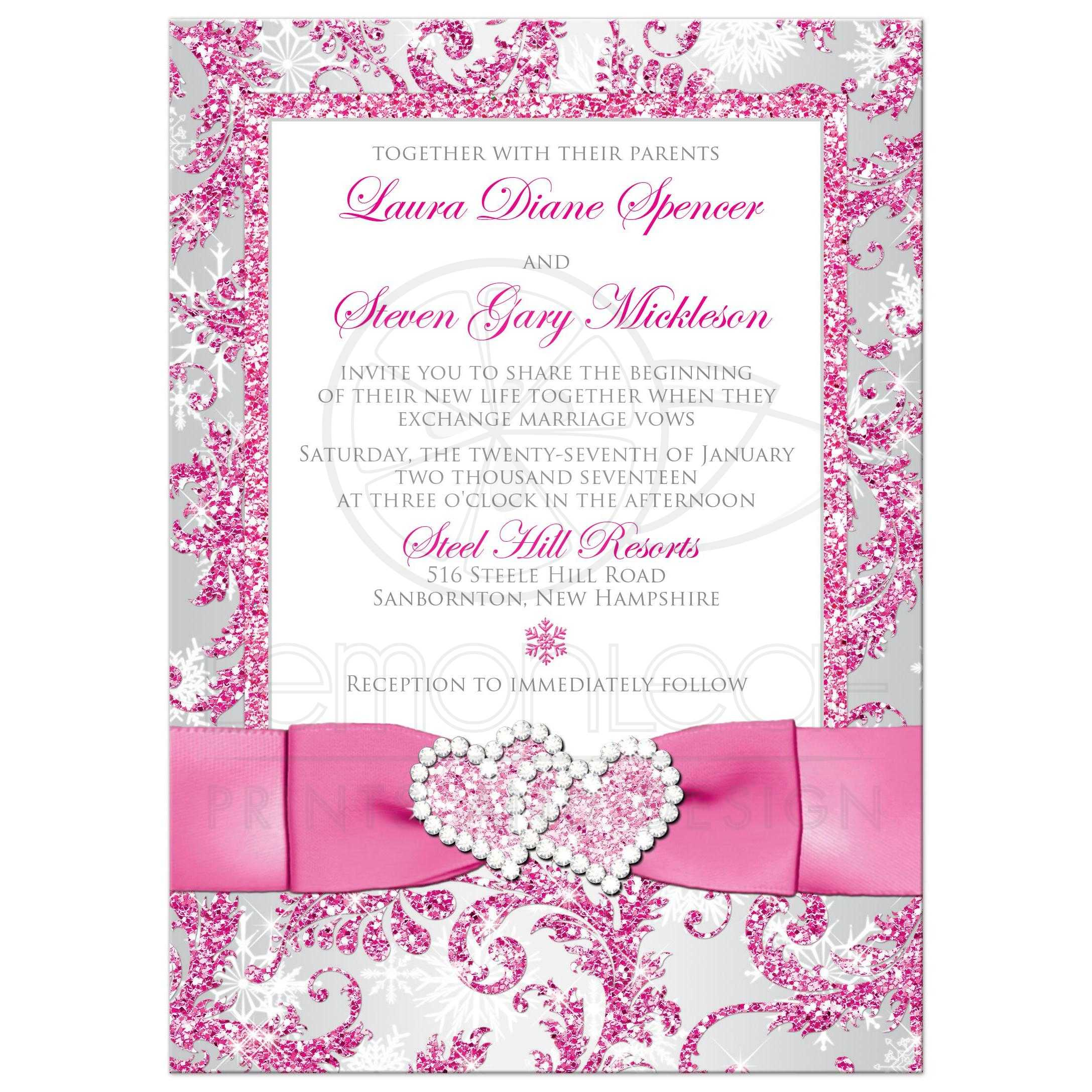 Winter Wonderland PHOTO Option Wedding Invite Frosty Pink Silver