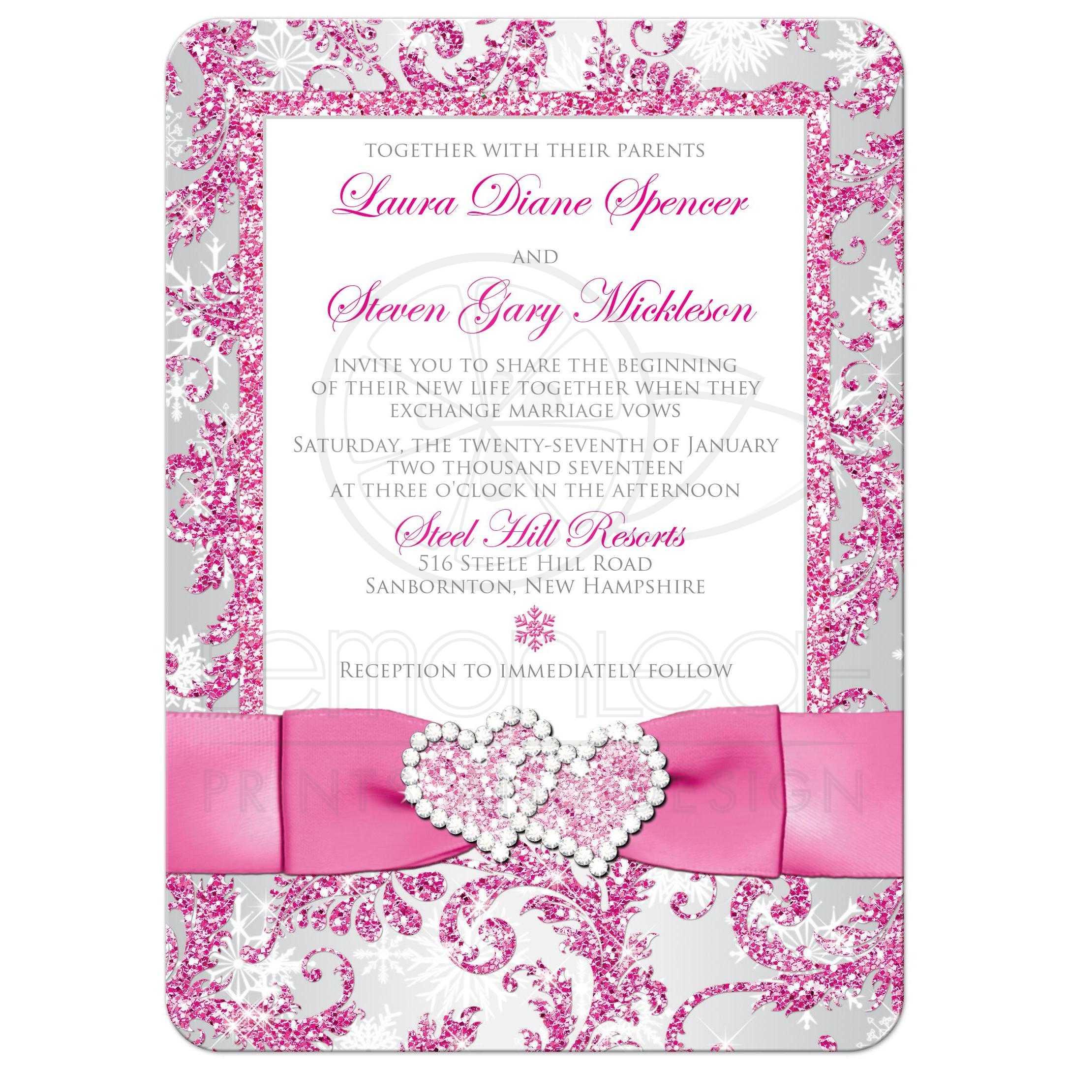 Winter Wonderland PHOTO Option Wedding Invite   Frosty Pink, Silver ...