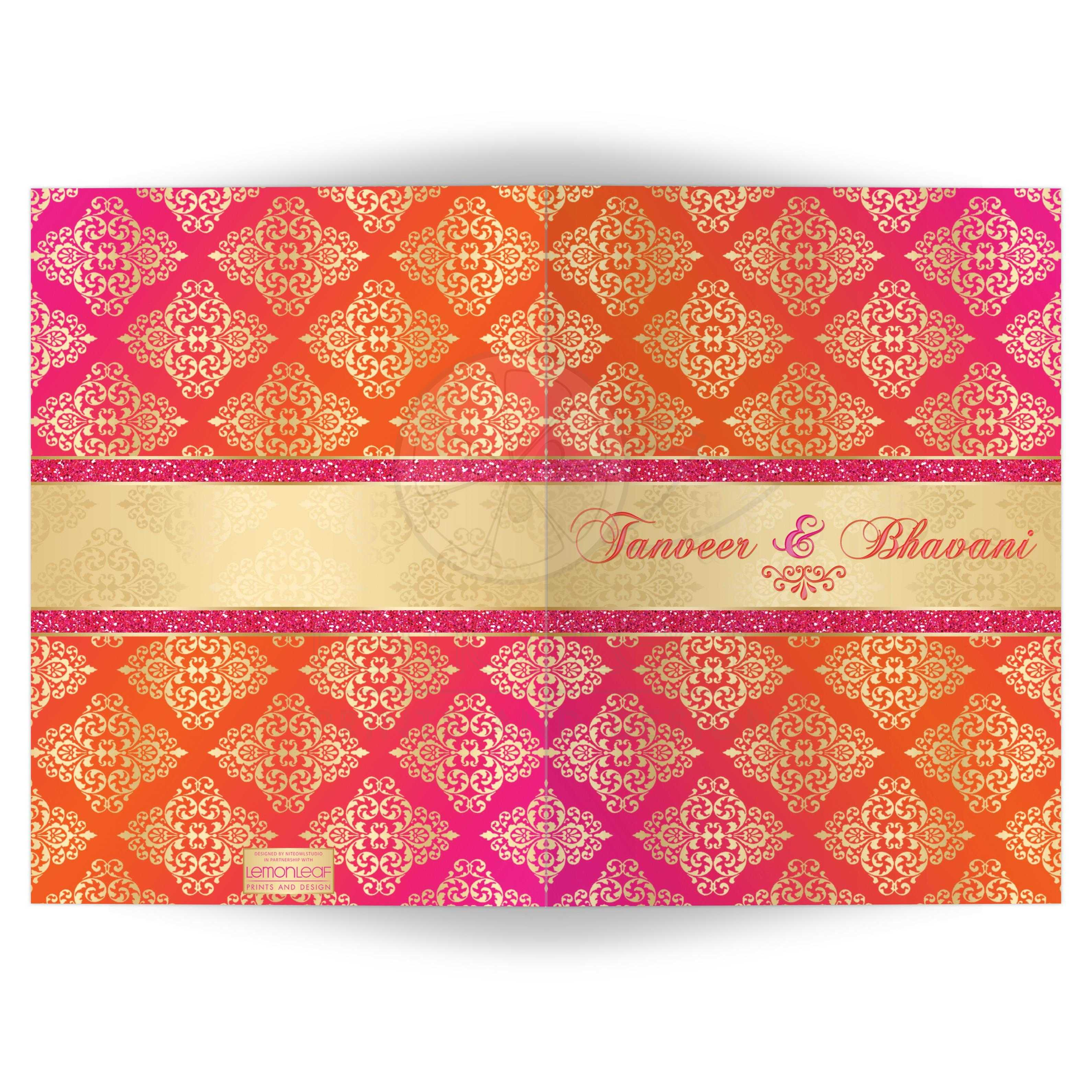 Affordable Indian Or Hindu Wedding Card Invitation In Fuchsia Pink, Orange  And Gold Damask ...