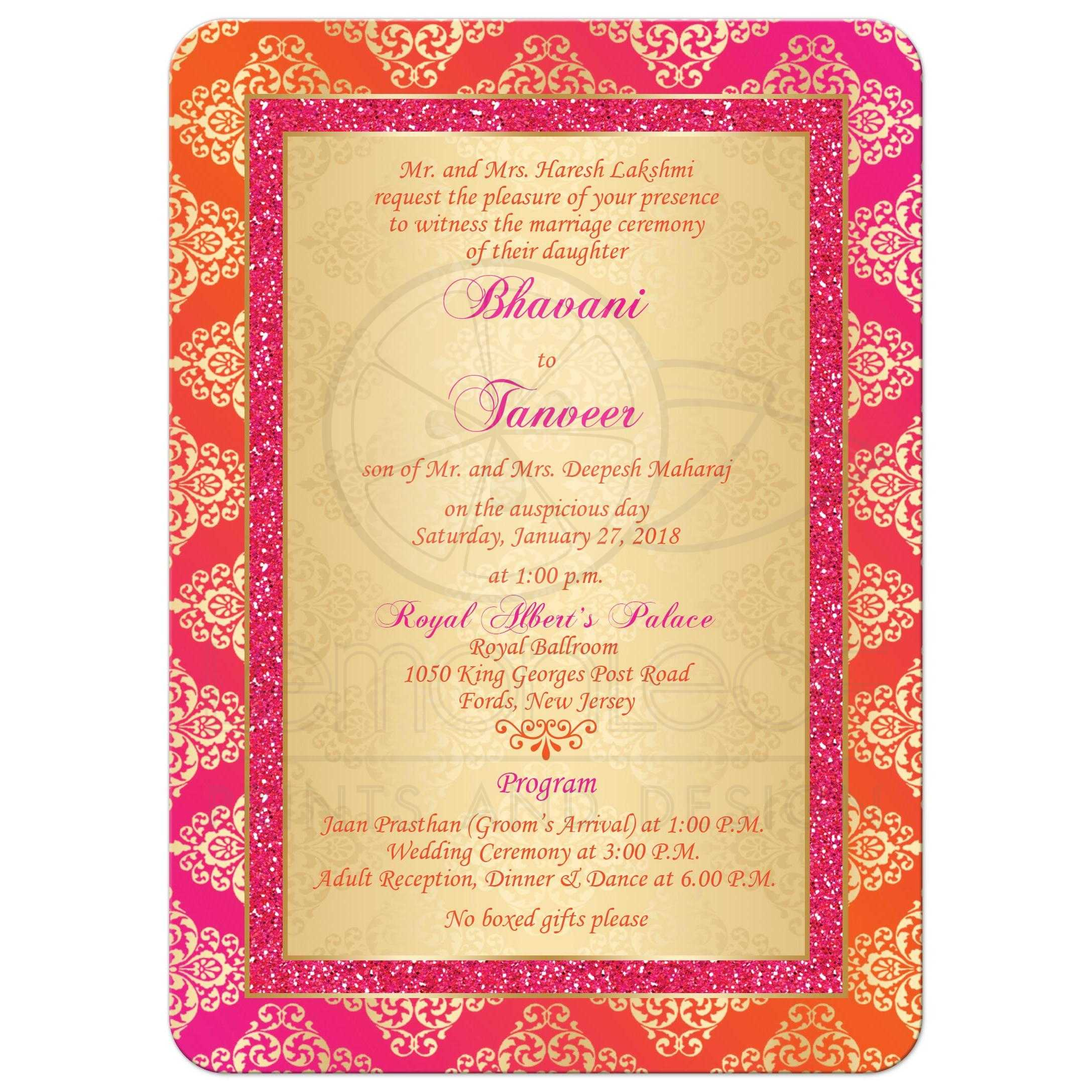 Wedding Invitation | Orange, Fuchsia, Gold Damask | Faux Pink ...