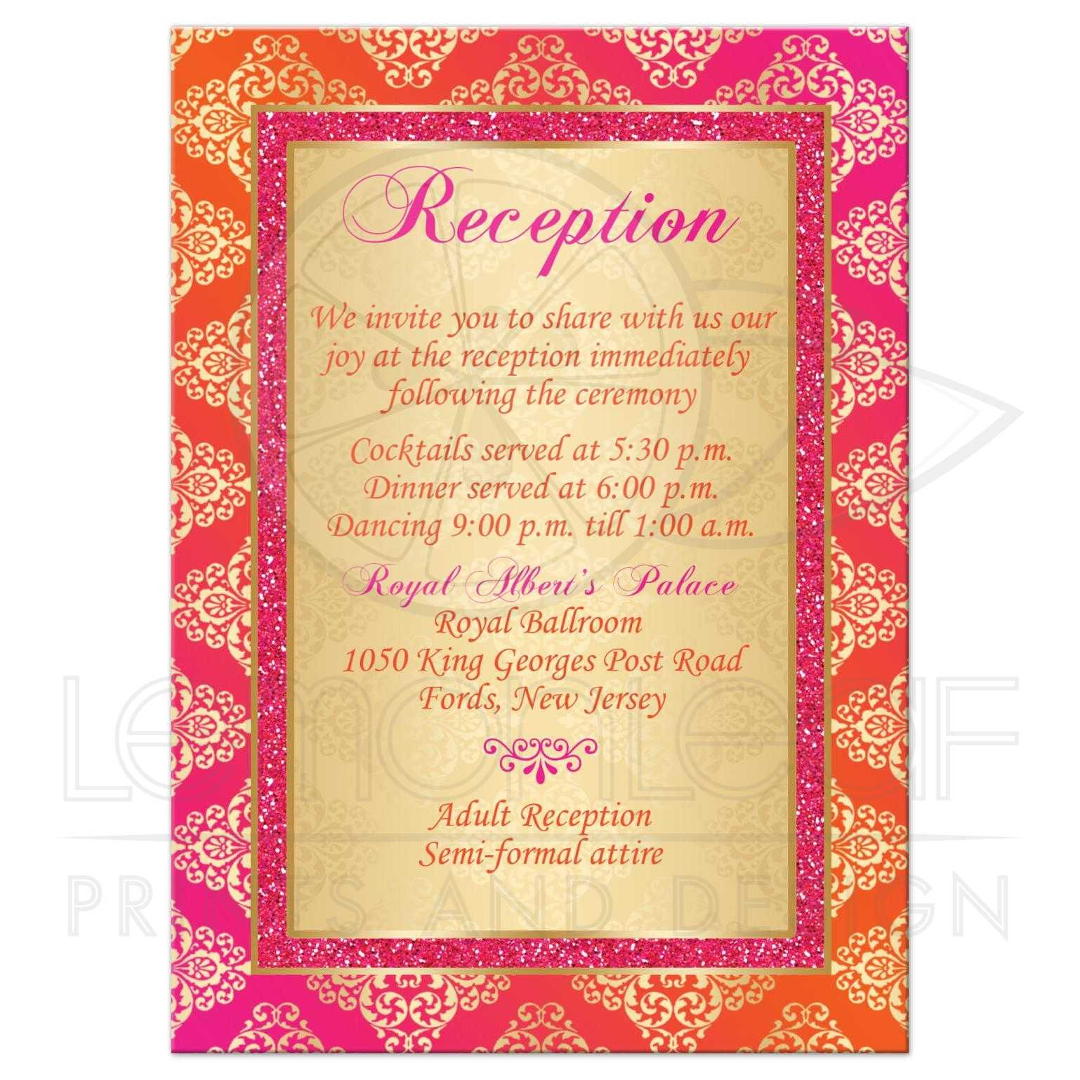 Wedding Enclosure Card | Orange, Fuchsia, Gold Damask, Scroll | Faux ...