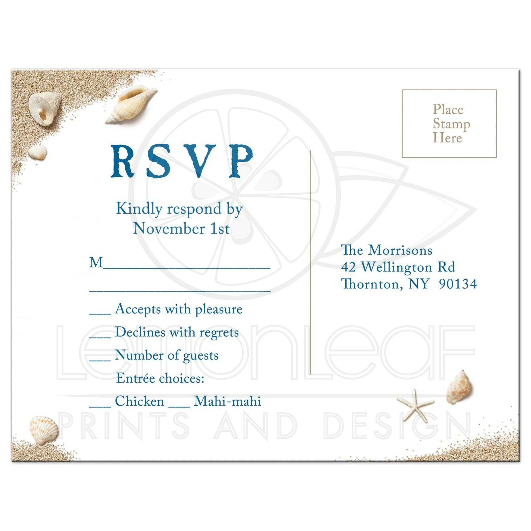 Destination Wedding Rsvp Postcard With Menu
