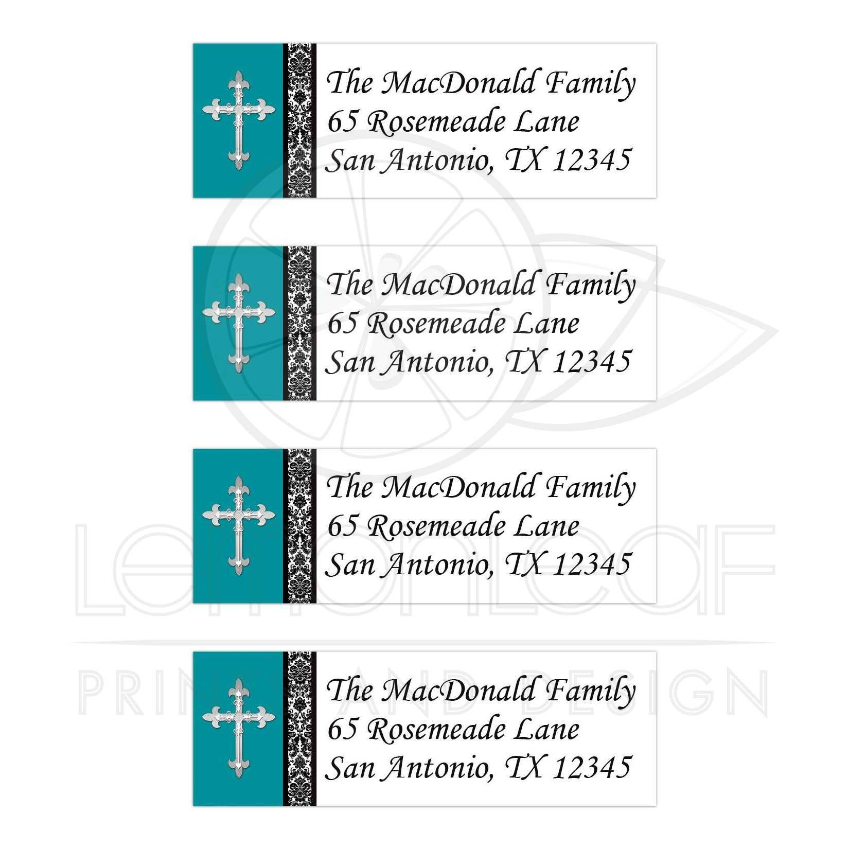 personalized address labels teal black white ornate silver cross