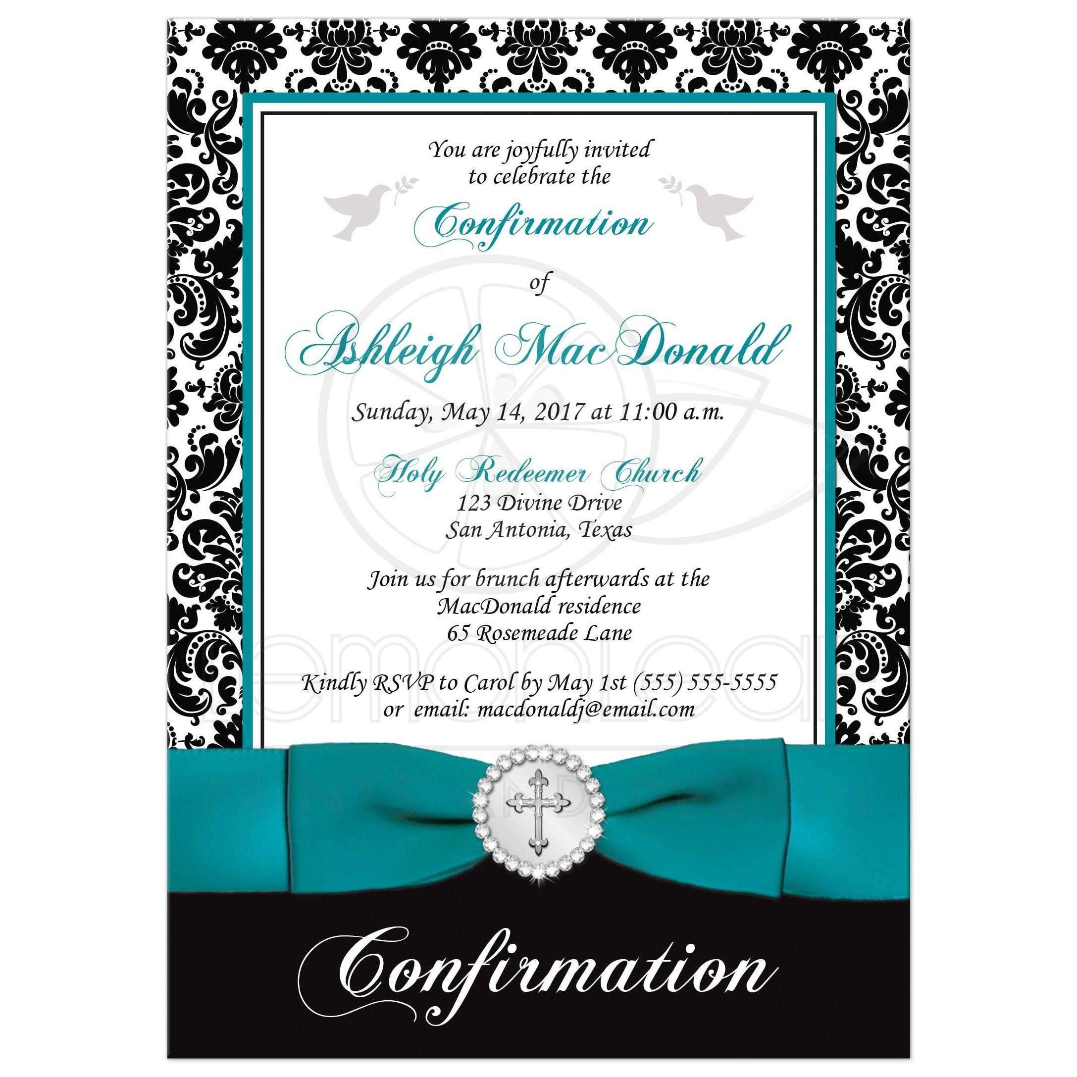Elegant Confirmation Invitation | Black, White Damask | PRINTED ...
