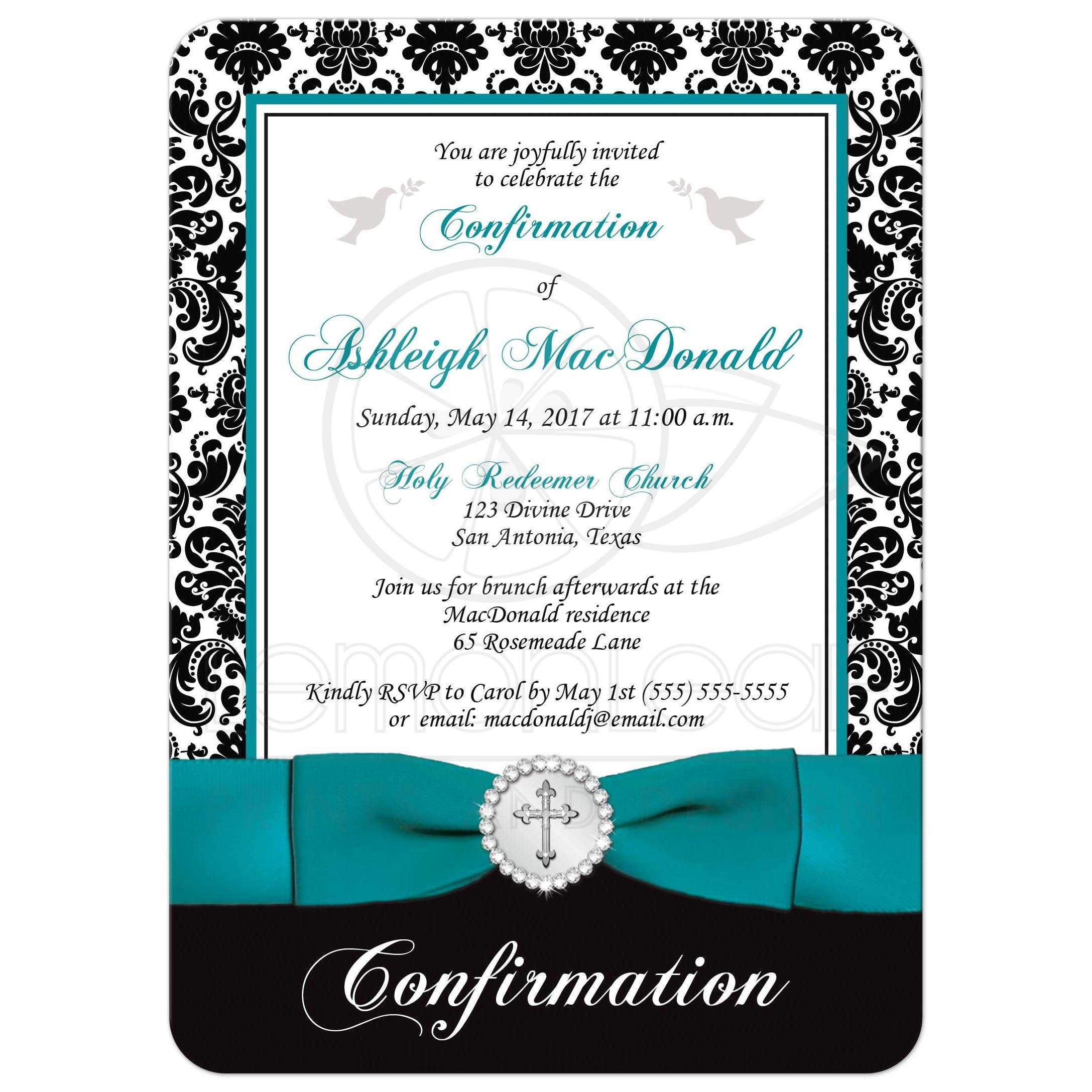 Elegant Confirmation Invitation | Black, White Damask | PRINTED Teal  Ribbon, Silver Jeweled Brooch with Cross