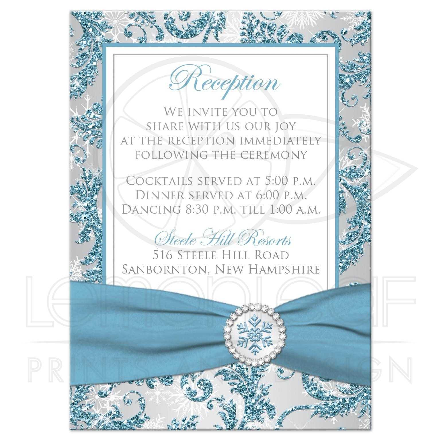 Wedding Enclosure Card | Winter Wonderland 3 | Ice Blue, Silver Gray ...