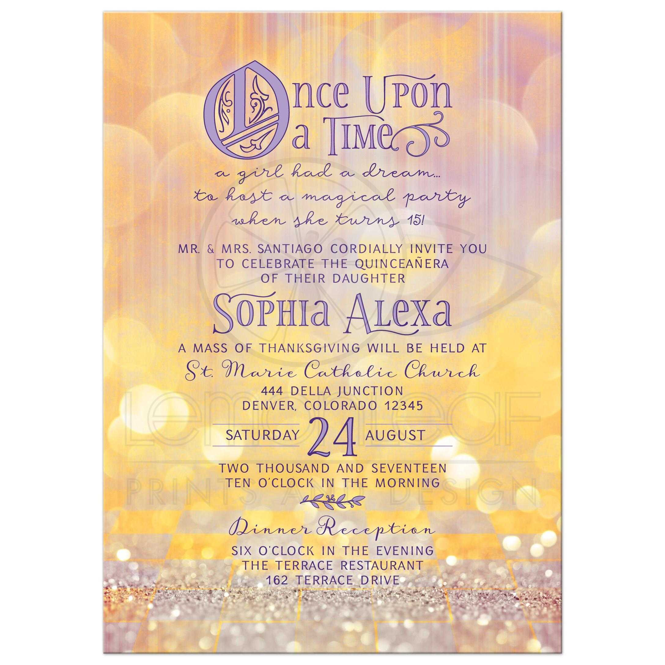 Quinceaera Invitation Magical Ballroom Once Upon a Time