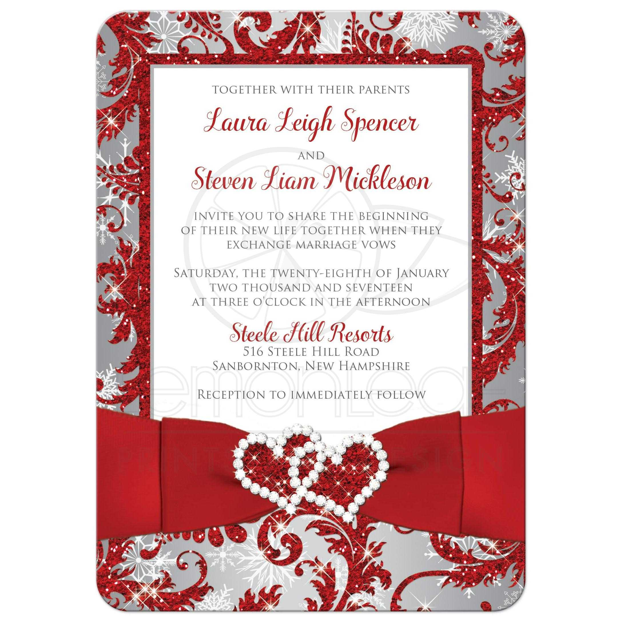 Printable Wedding Invitations Designs With Red And Silver: Wedding Invitation - PHOTO Optional