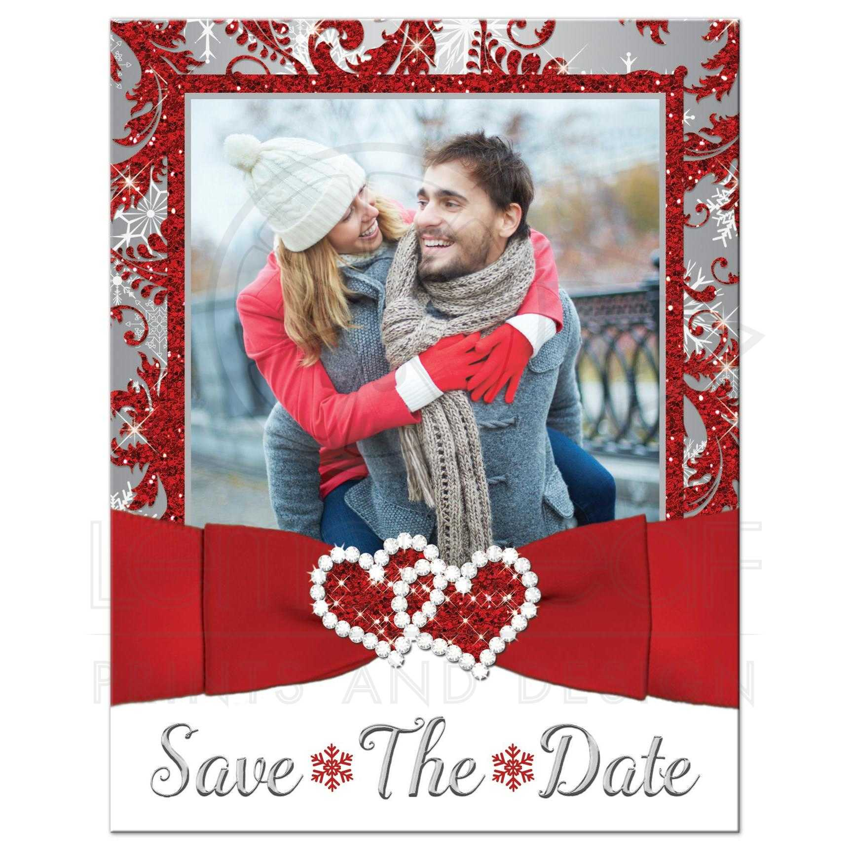 PHOTO Wedding Save the Date Card | Red, Silver Gray, White ...