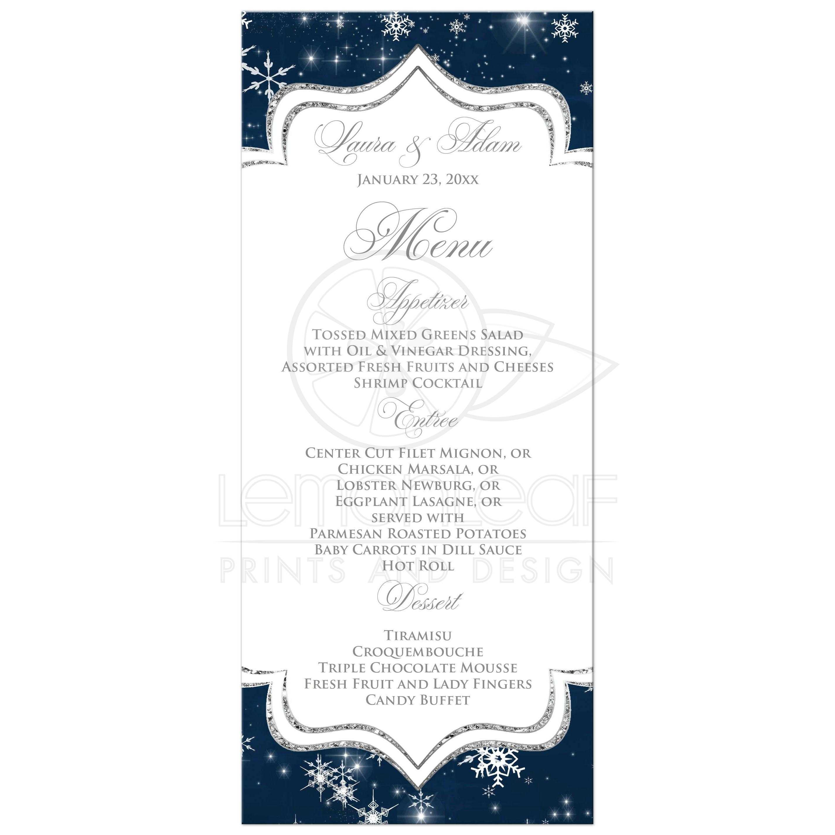 A Wintry Night Wedding Menu Card | Snowflakes, Stars | Navy, White ...