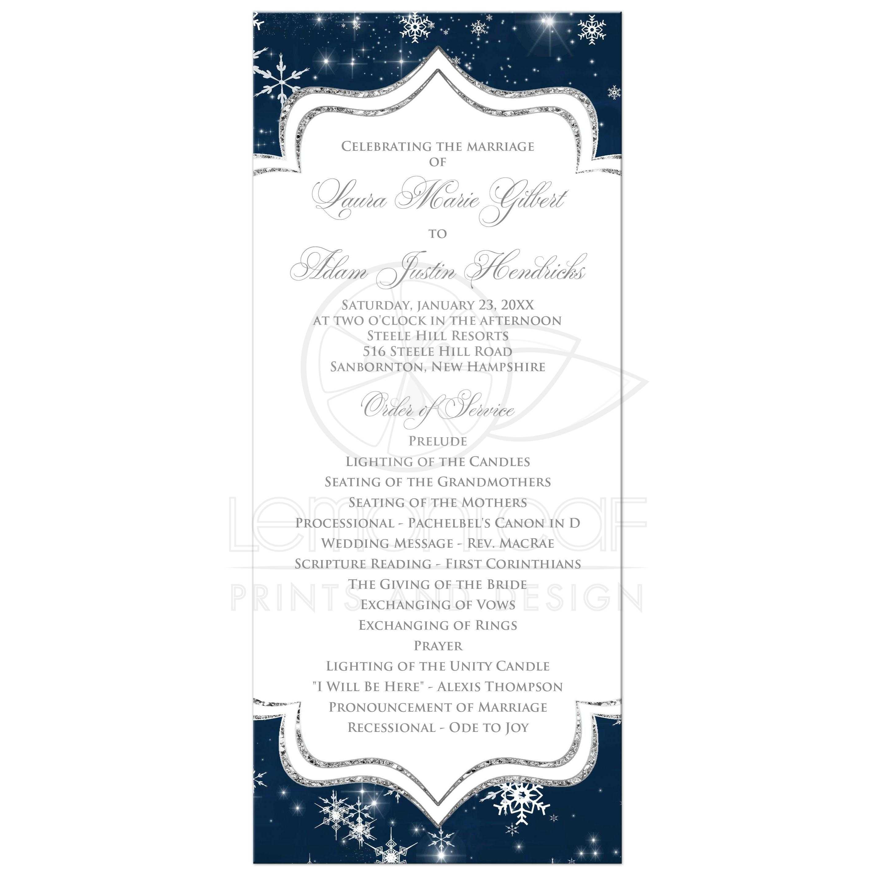 Navy Blue White Silver Grey Glitter And Snowflakes Winter Wedding Program Card