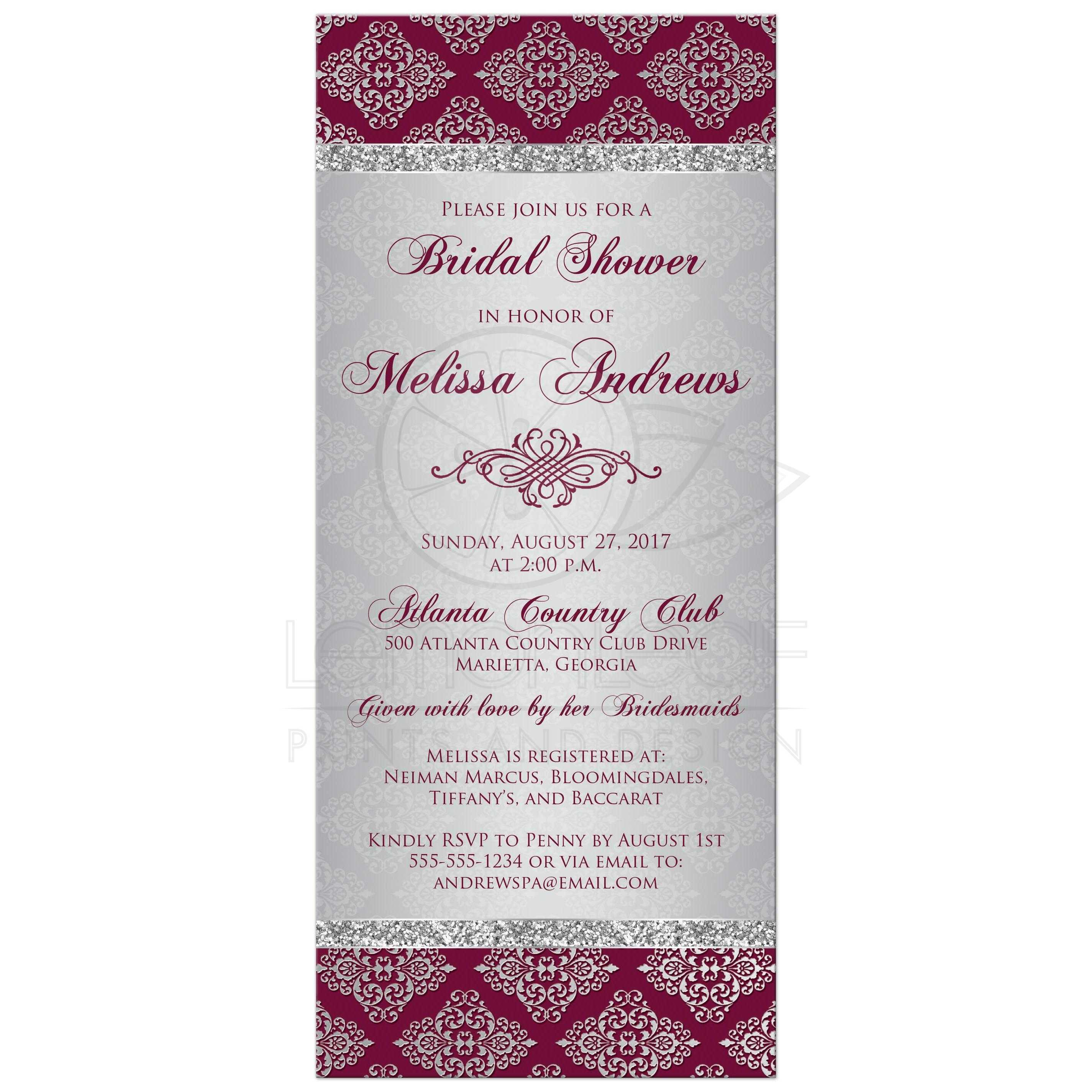 burgundy and silver gray grey damask pattern bridal shower invitation with silver glitter and ornate