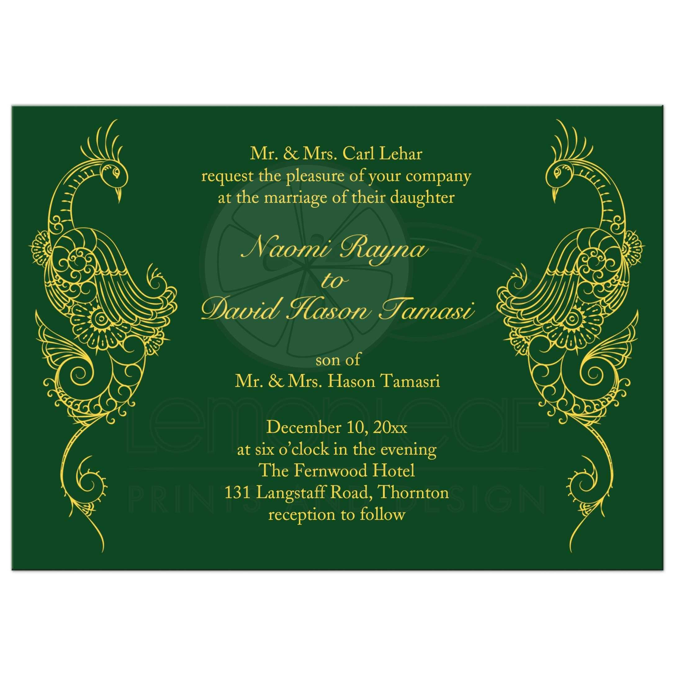 Wedding Invitation Elegant Mehndi Peacock In Green