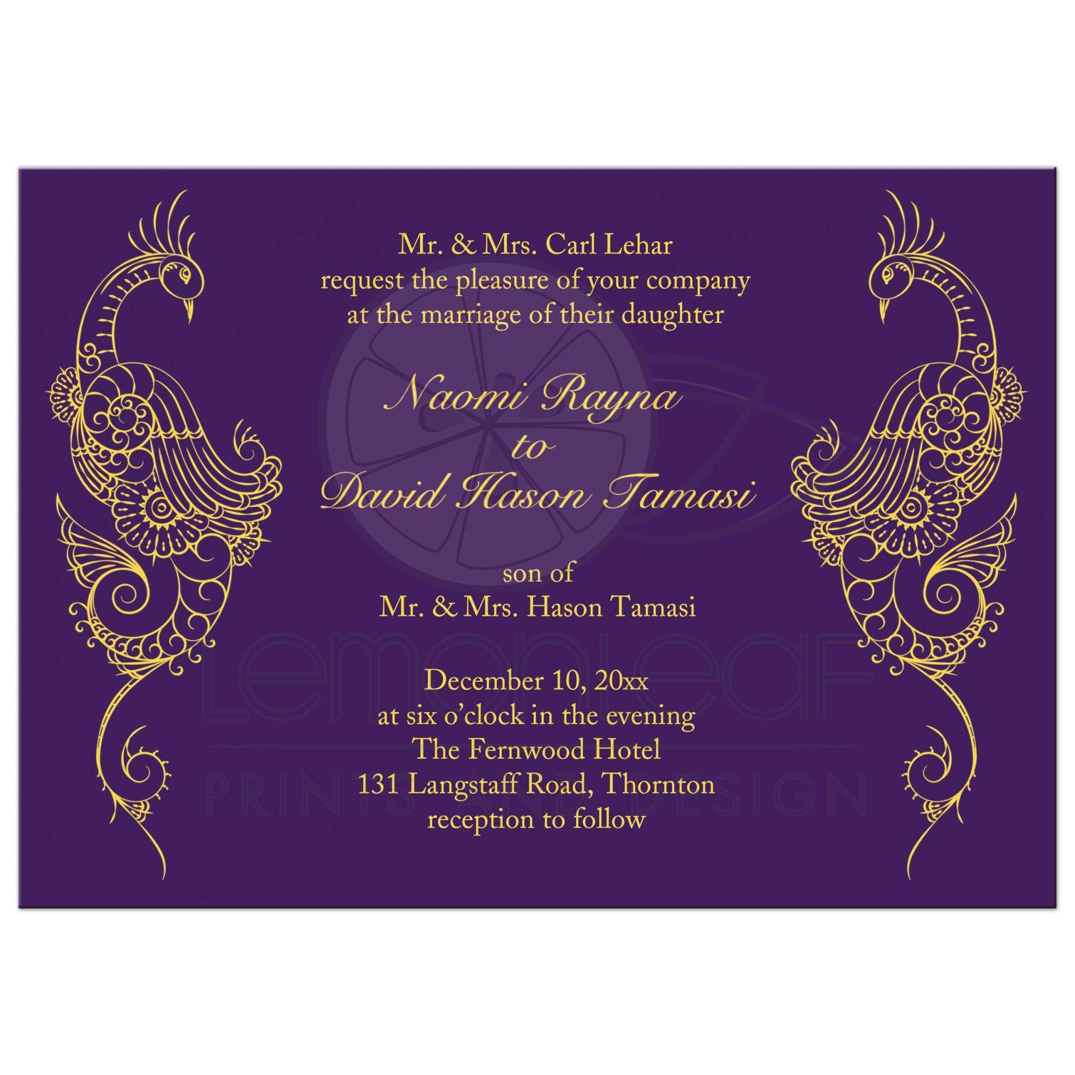Wedding Invitation , Elegant Mehndi Peacock in purple