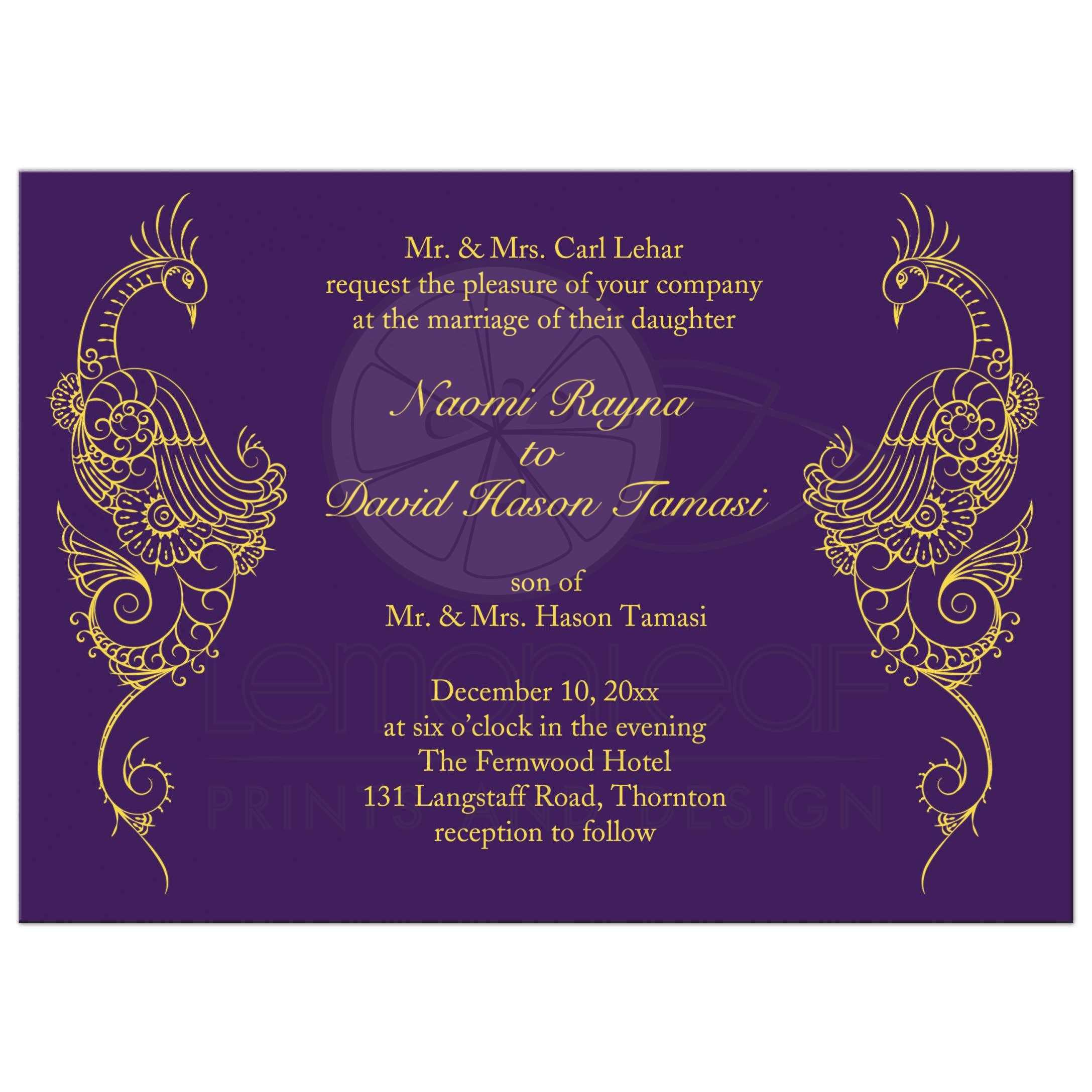 Wedding Invitation Elegant Mehndi Pea In Purple