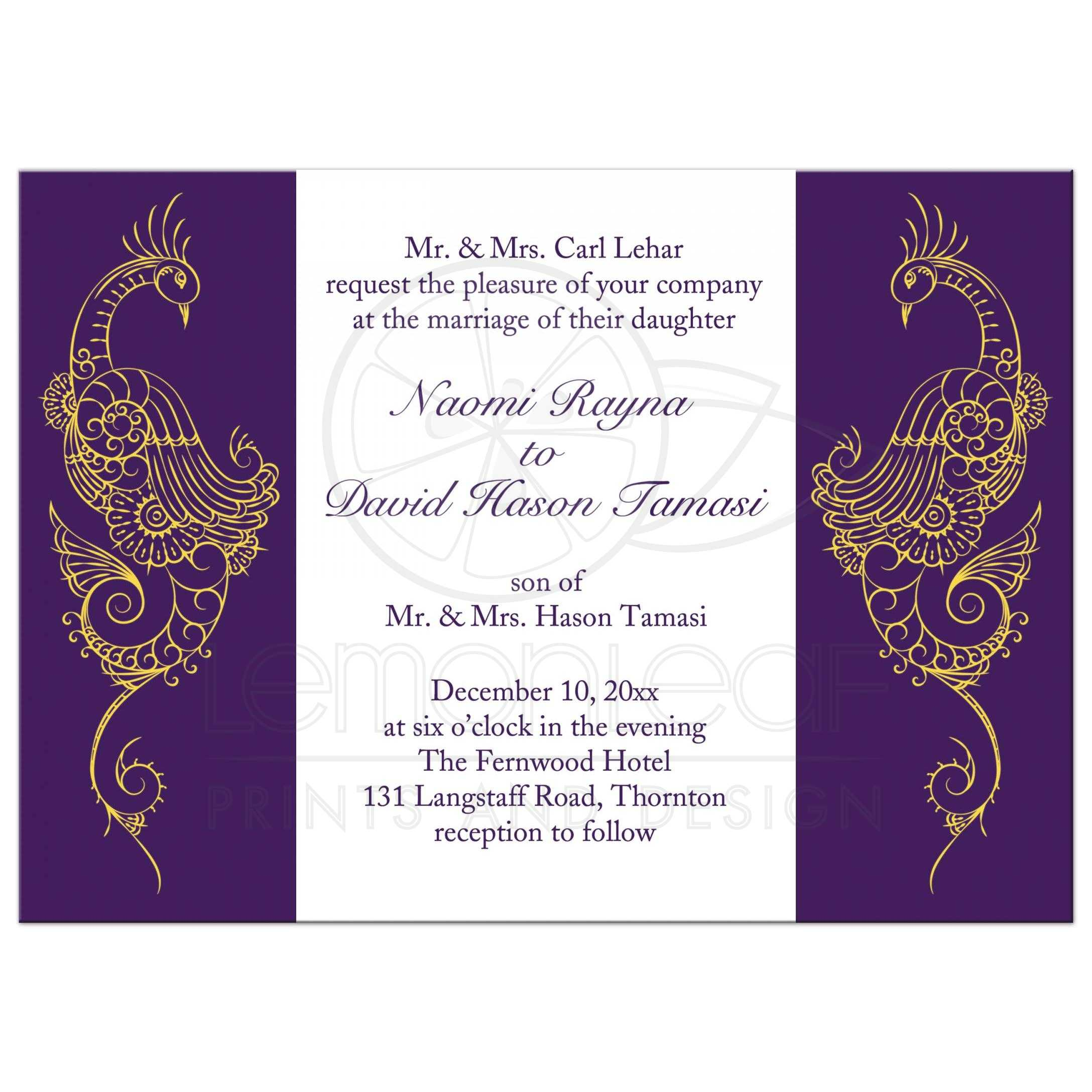 Wedding Invitation Elegant Mehndi Peacock In Purple And White