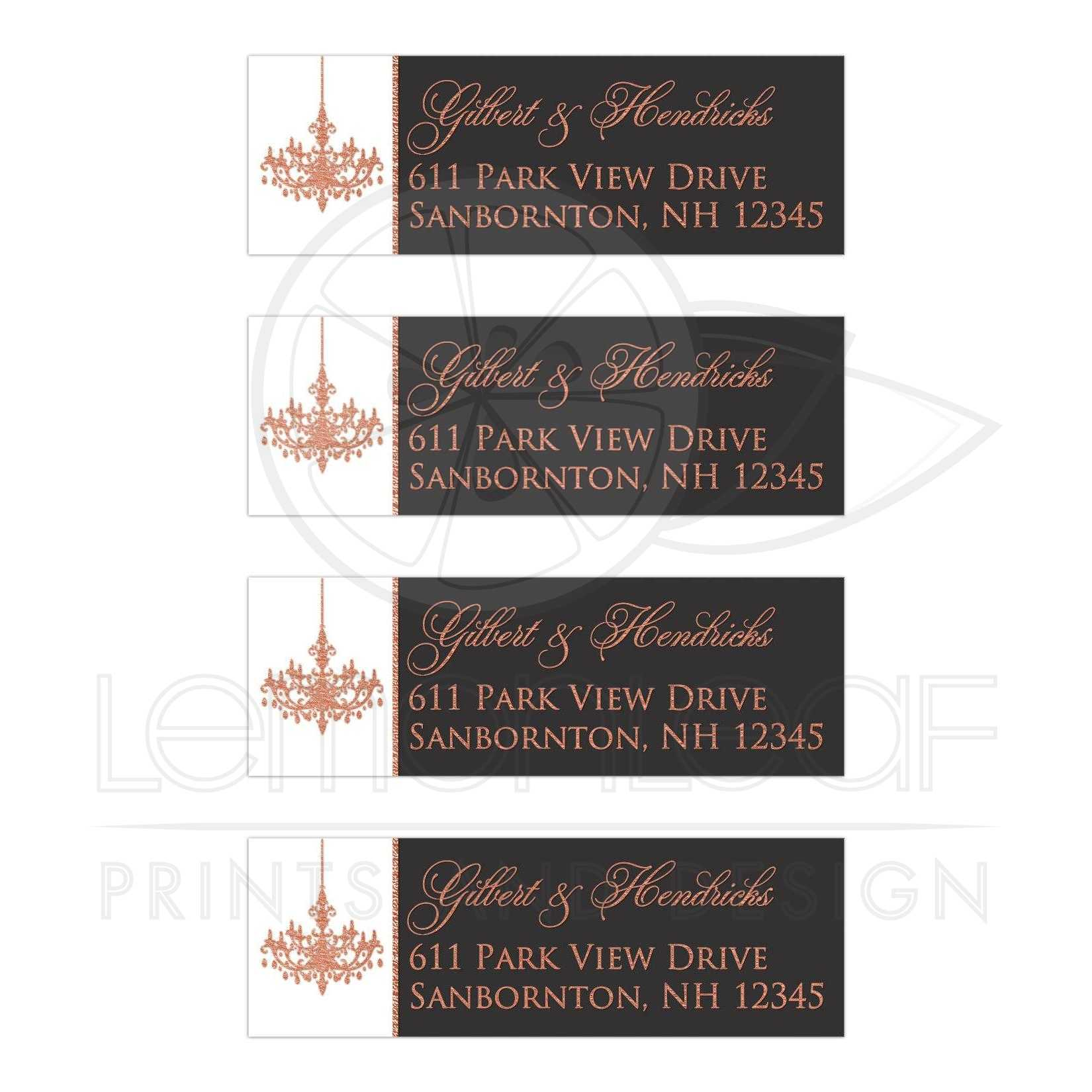 Personalized Wedding Return Address Labels In Gray White And Faux Copper Foil With A