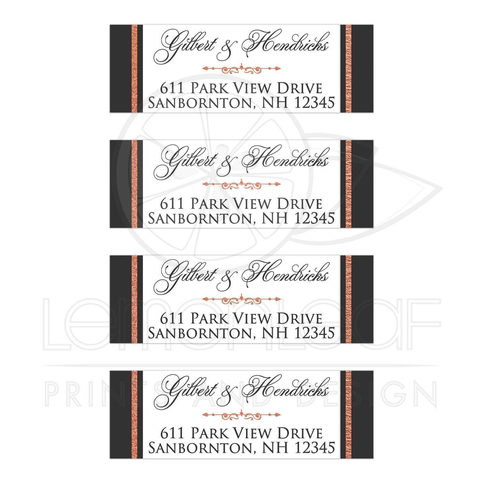personalized return address labels faux copper foil scroll