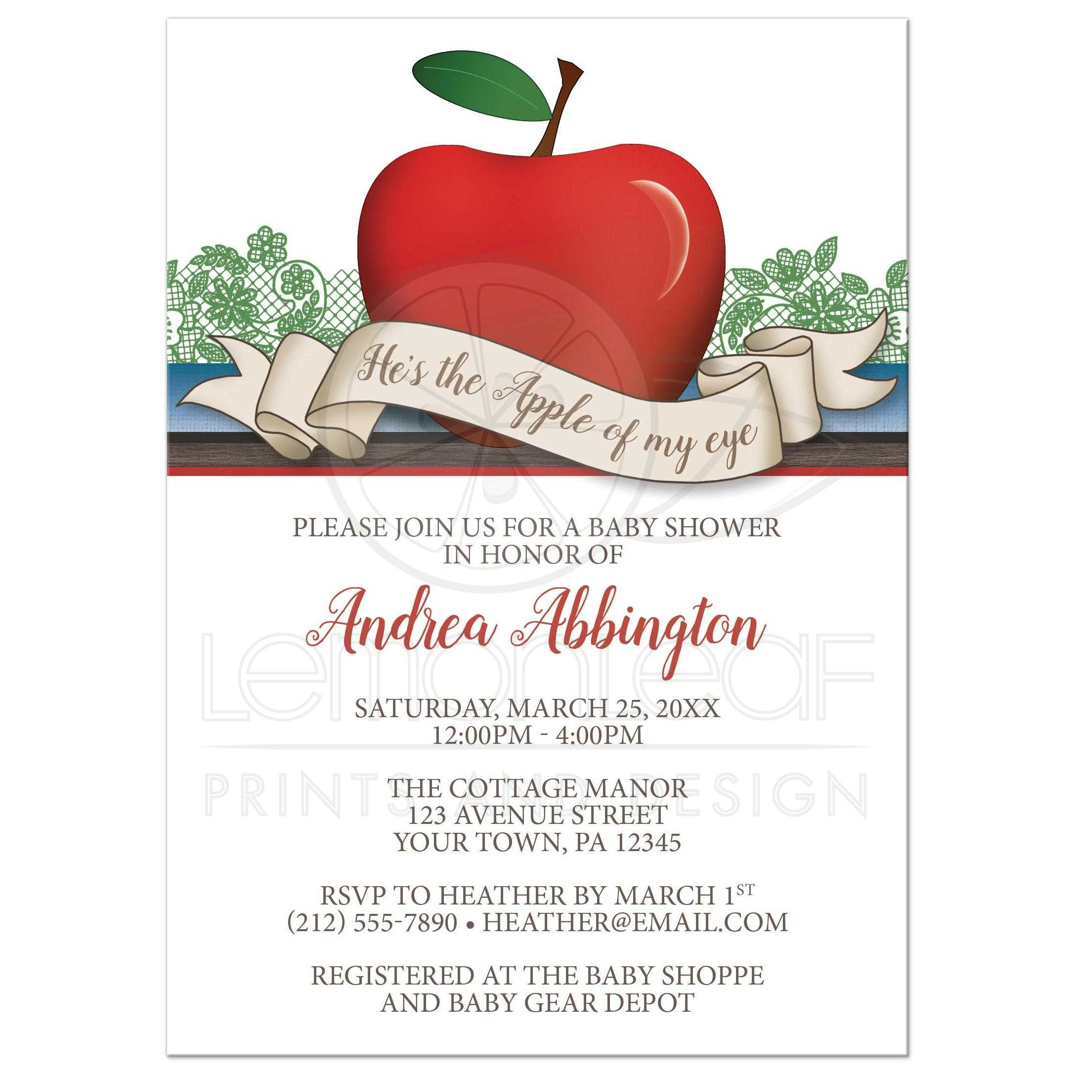 Baby Shower Invitations - Boy Red \'Apple of My Eye\'
