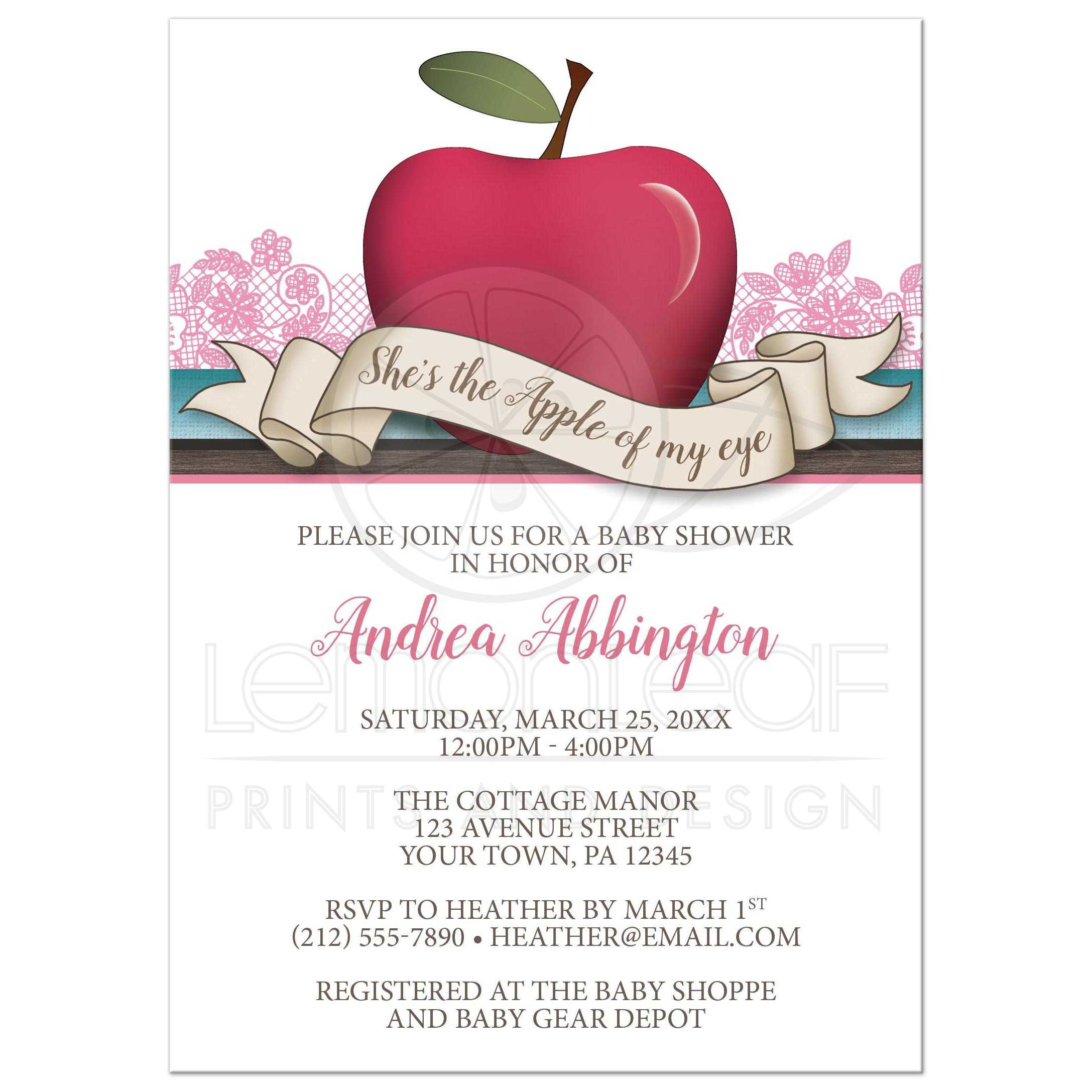 Baby Shower Invitations - Girl Pink \'Apple of My Eye\'