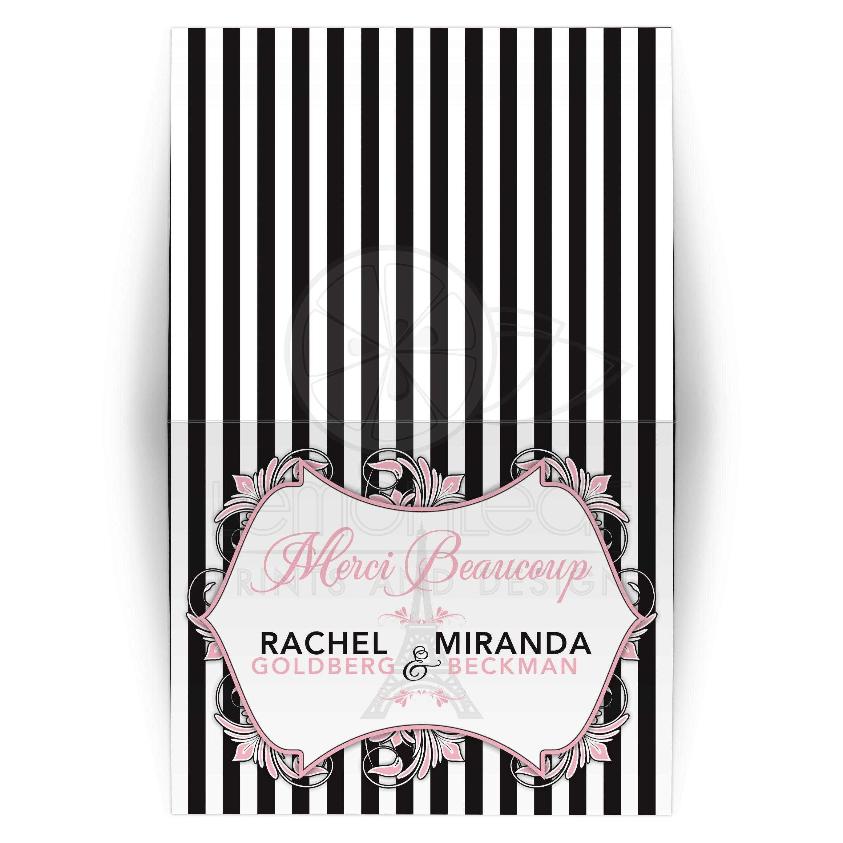 Paris Eiffel Tower Mitzvah Thank You Card Pink Black White Chic Stripes
