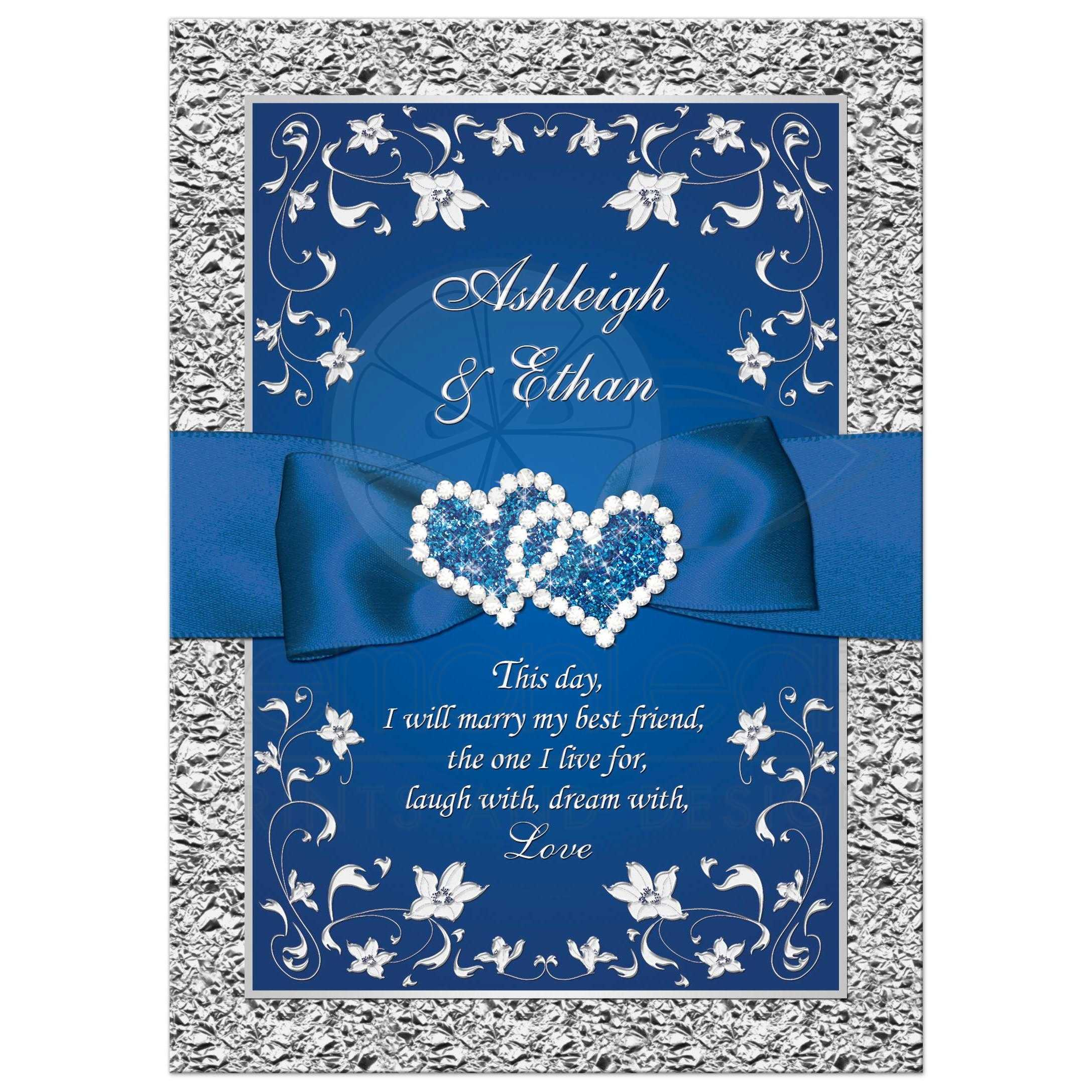Nice Royal Blue And Silver Grey Floral Wedding Invitation With Joined Jewel  Hearts And Ribbon.
