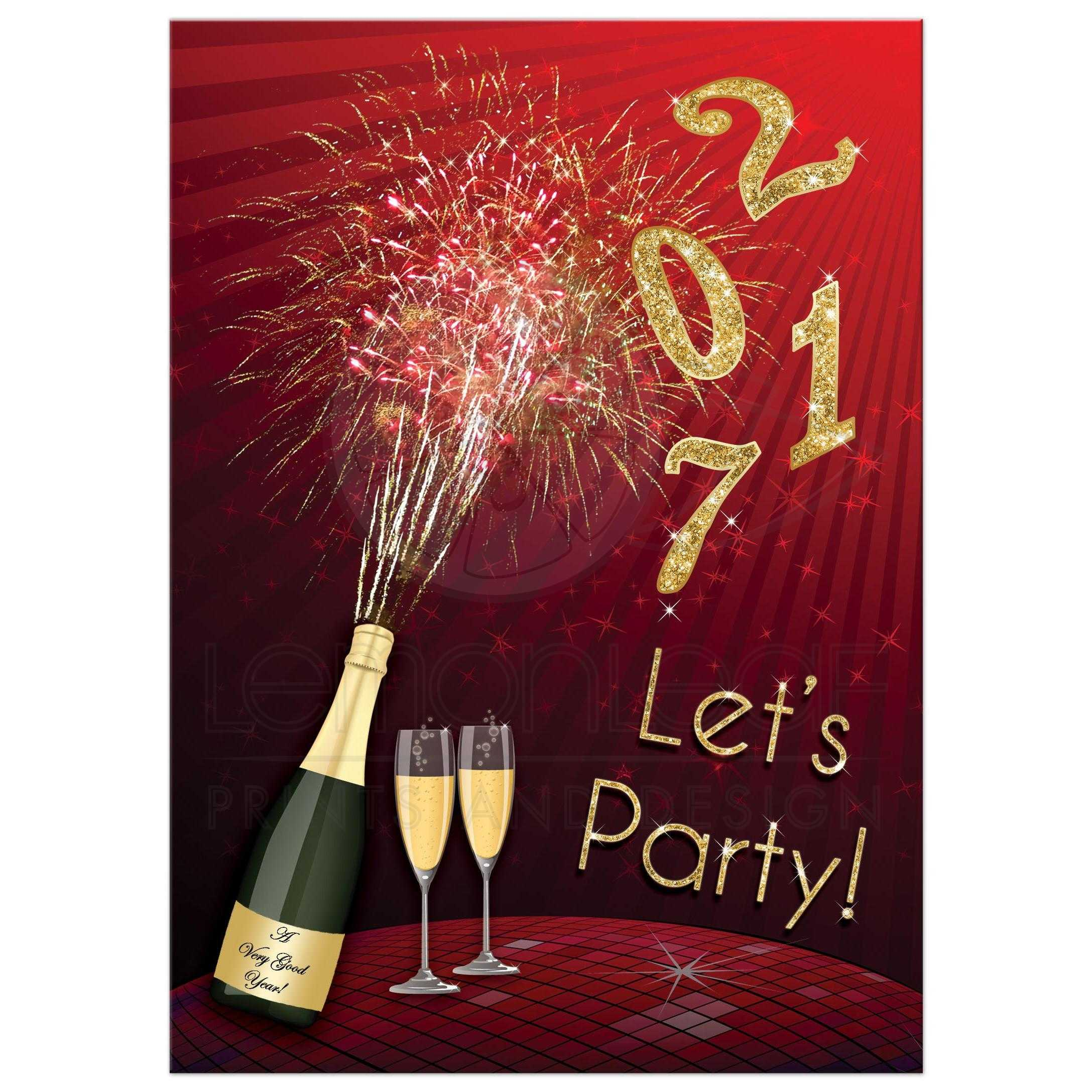New Year S Eve Party Invitation Fireworks Champagne Glitter