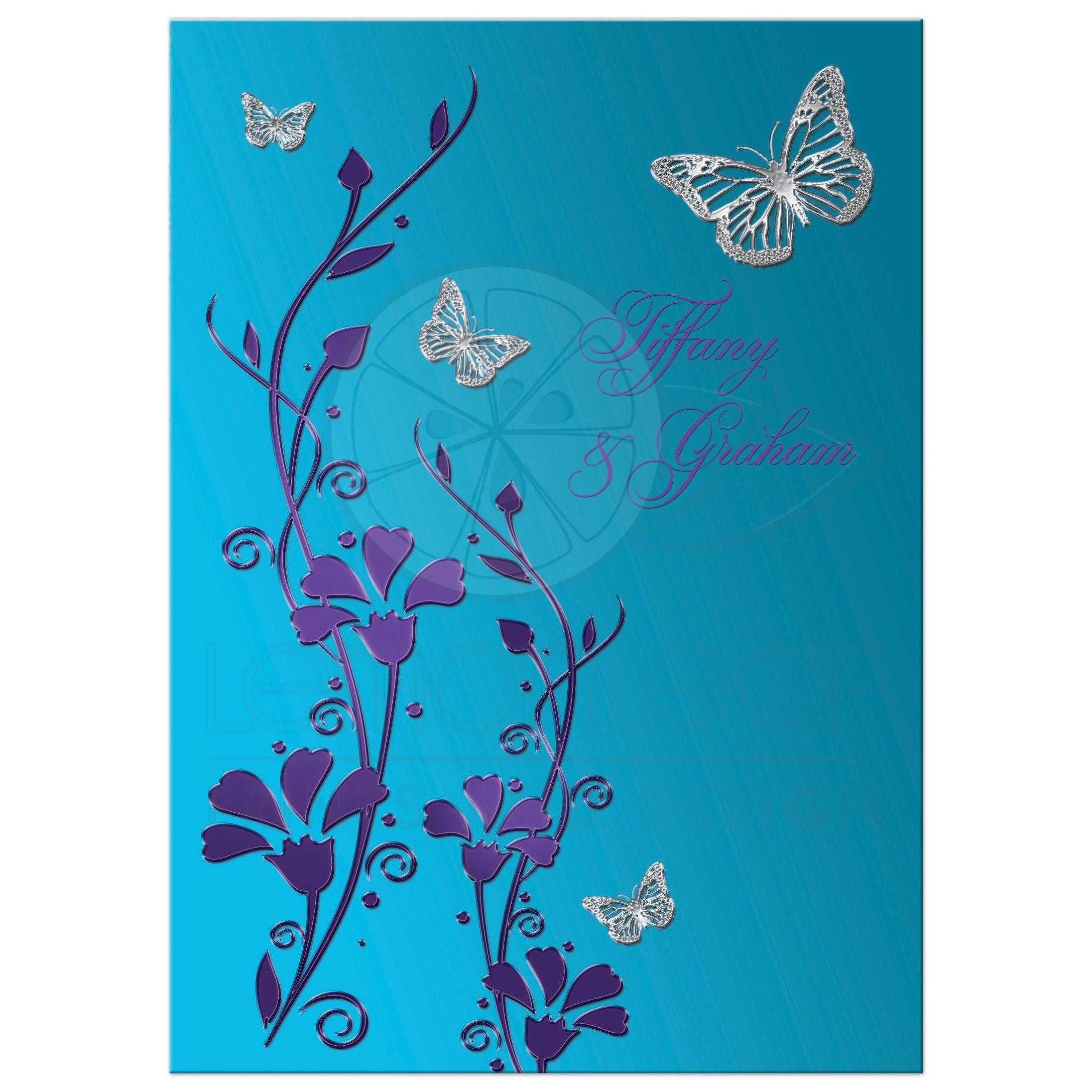 Great Turquoise Or Teal Blue And Purple Floral Wedding Invitation With Flowers Silver Butterflies