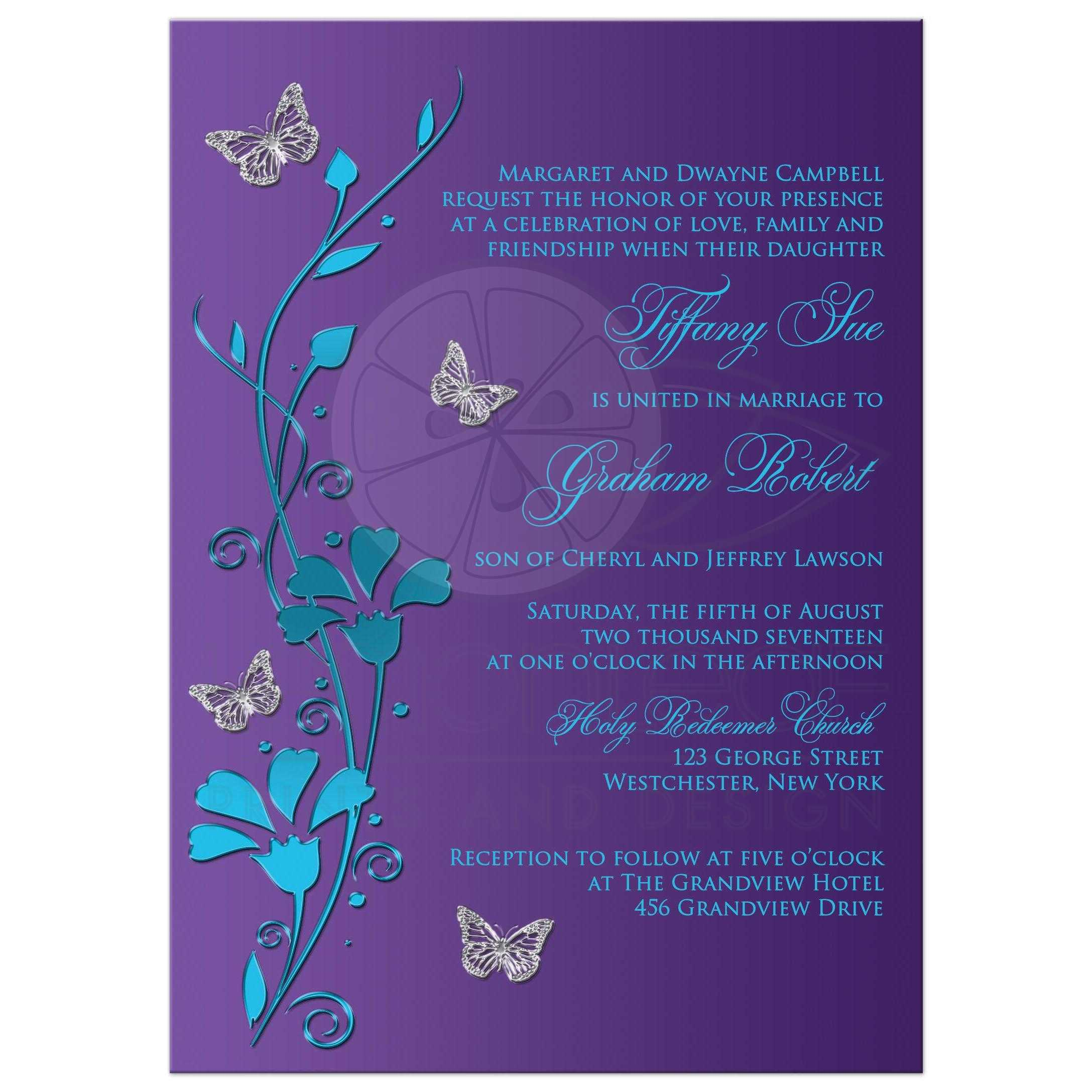 Wedding Invitation Turquoise Blue Purple Silver – Wedding Butterfly Invitations