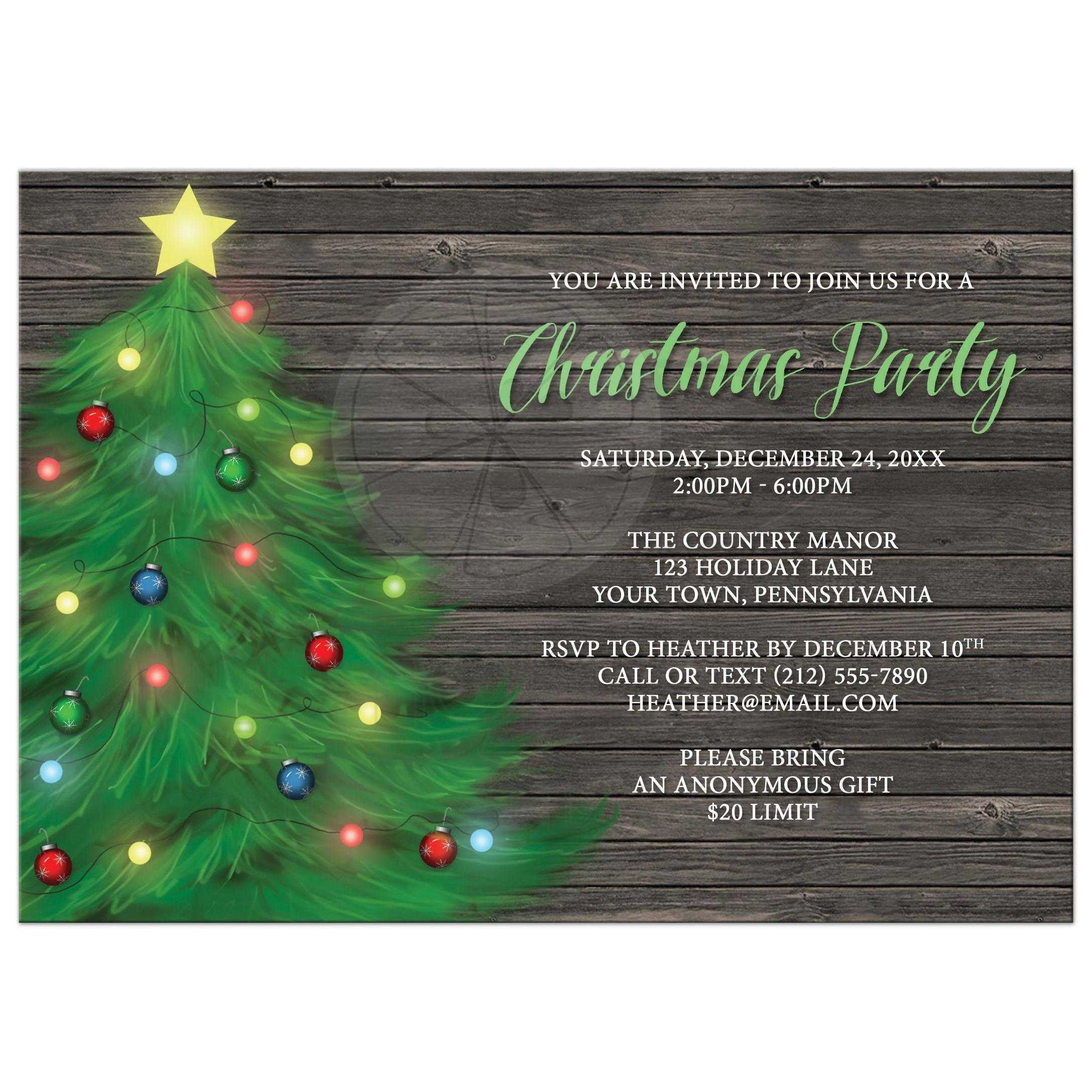 Christmas Party Invitation.Christmas Party Invitations Rustic Wood Holiday Tree With Lights