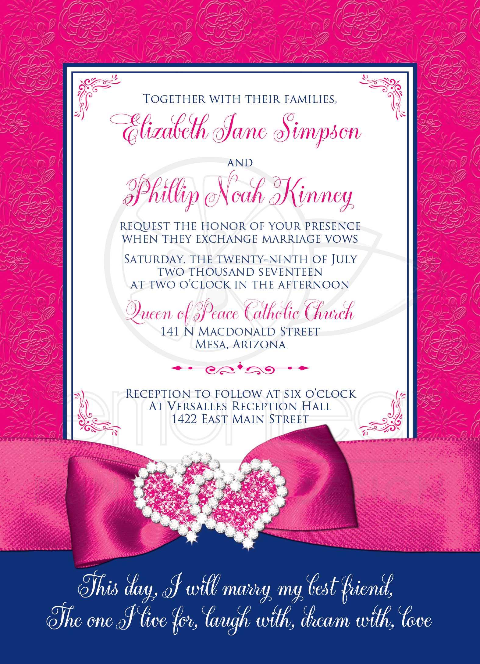 Wedding Invitation   Royal Blue, Pink, White Floral   PRINTED Ribbon ...