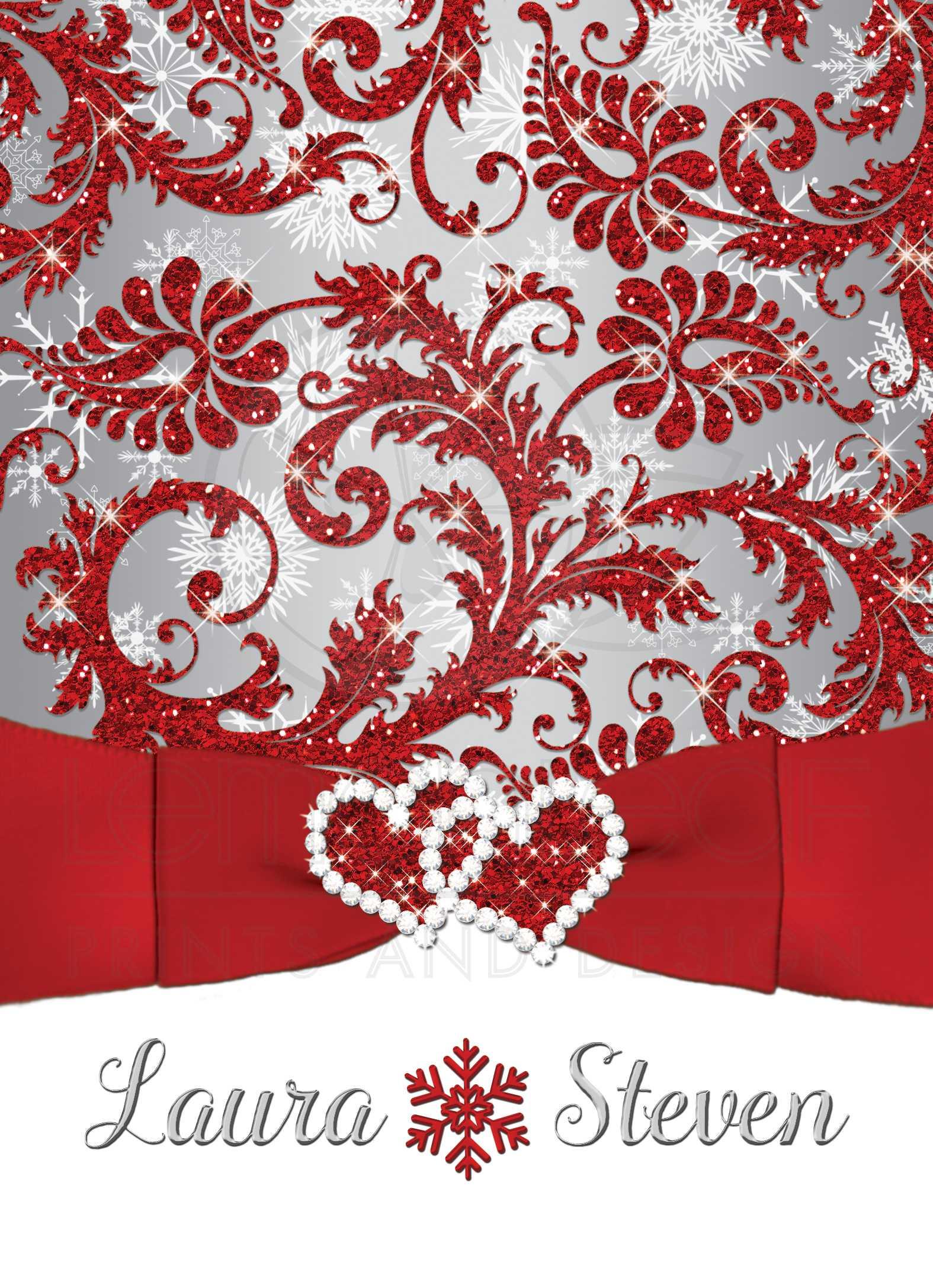 Wedding Invitation | Winter Wonderland | Red, Silver, White ...