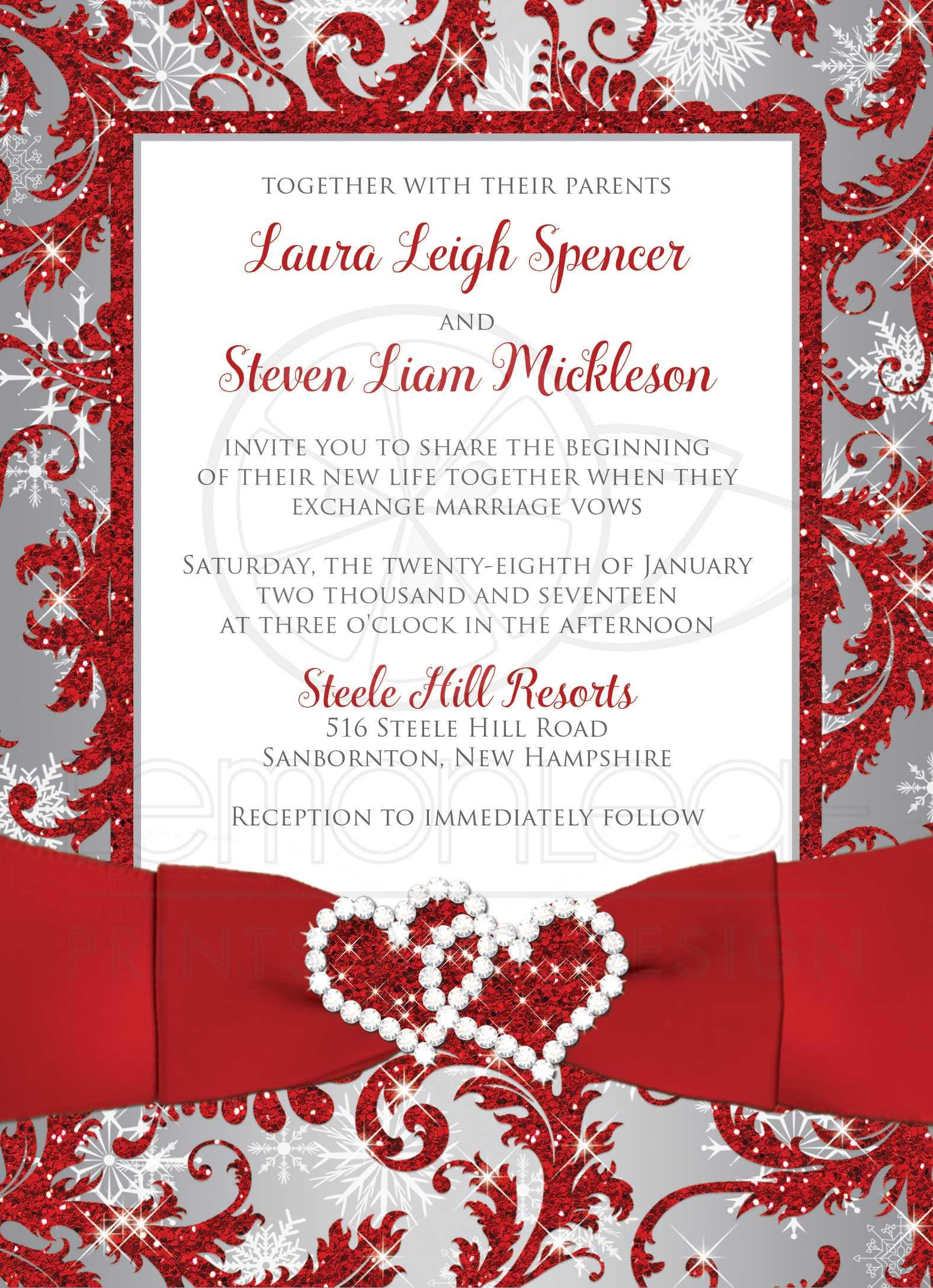 Wedding Invitation - PHOTO Optional | Winter Wonderland | Faux ...