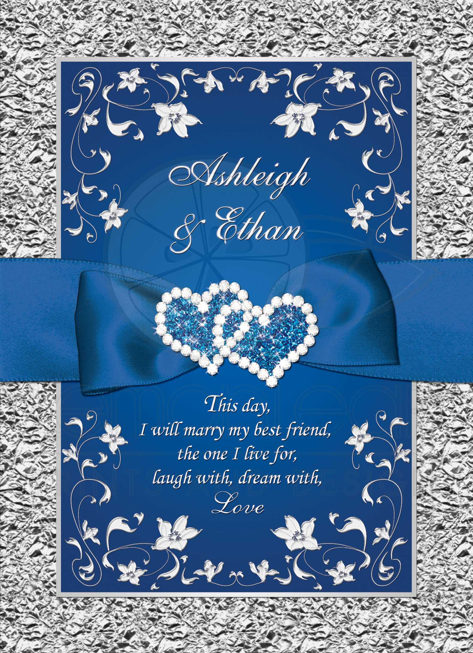 Royal Blue Wedding Invitation | FAUX Foil, Silver Floral | Printed  Ribbon/Bow | Double Hearts