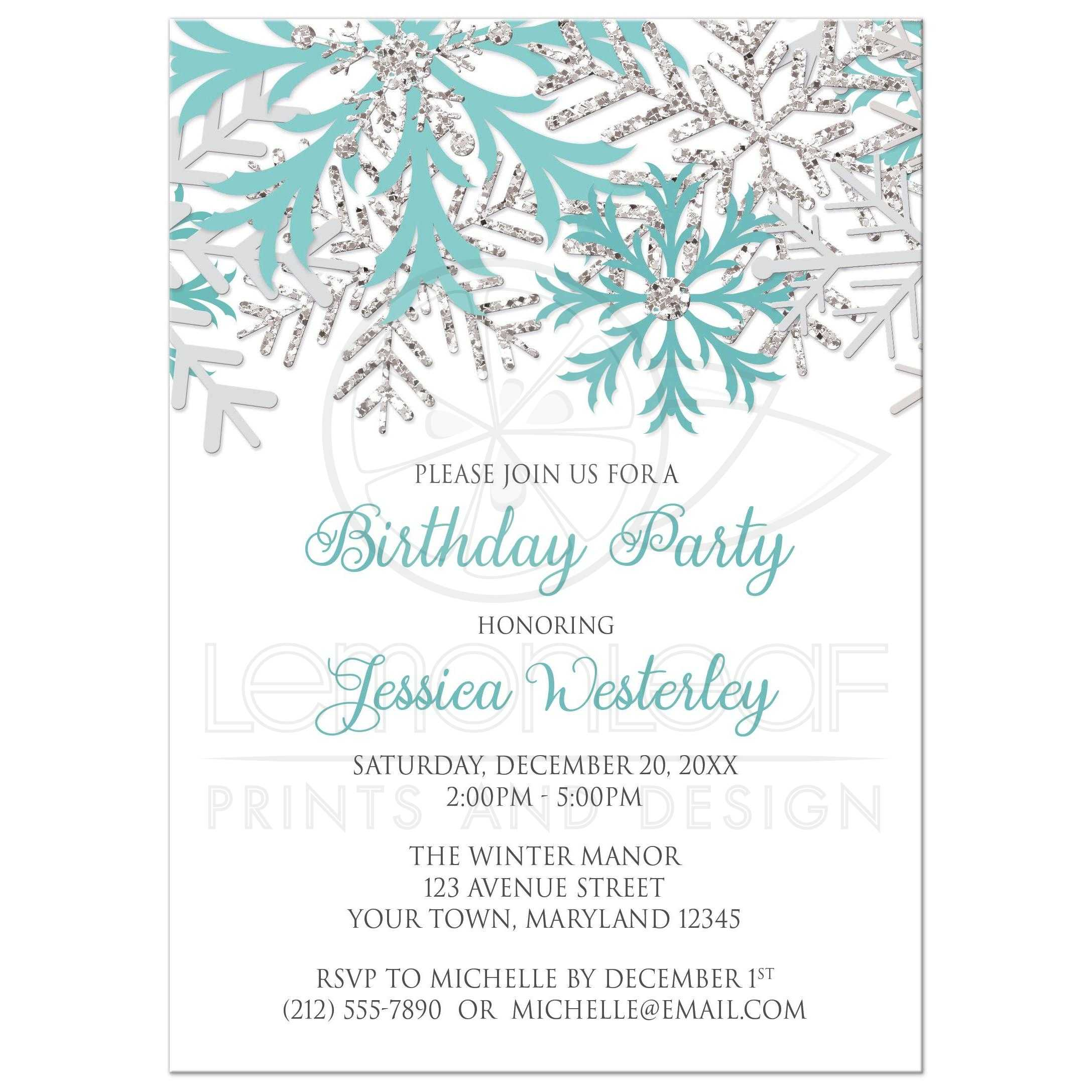 birthday invitations winter snowflake teal silver
