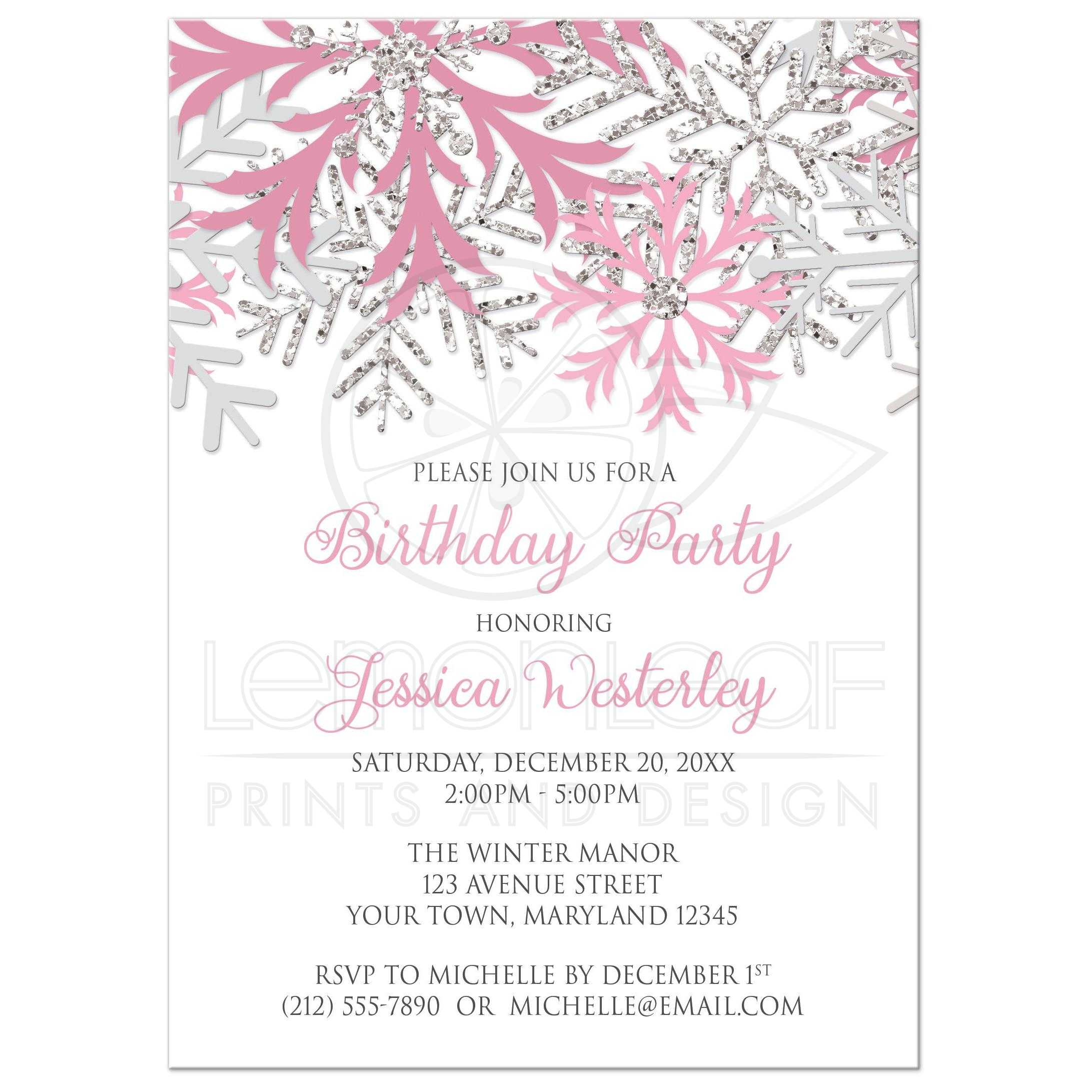 birthday invitations winter snowflake pink silver