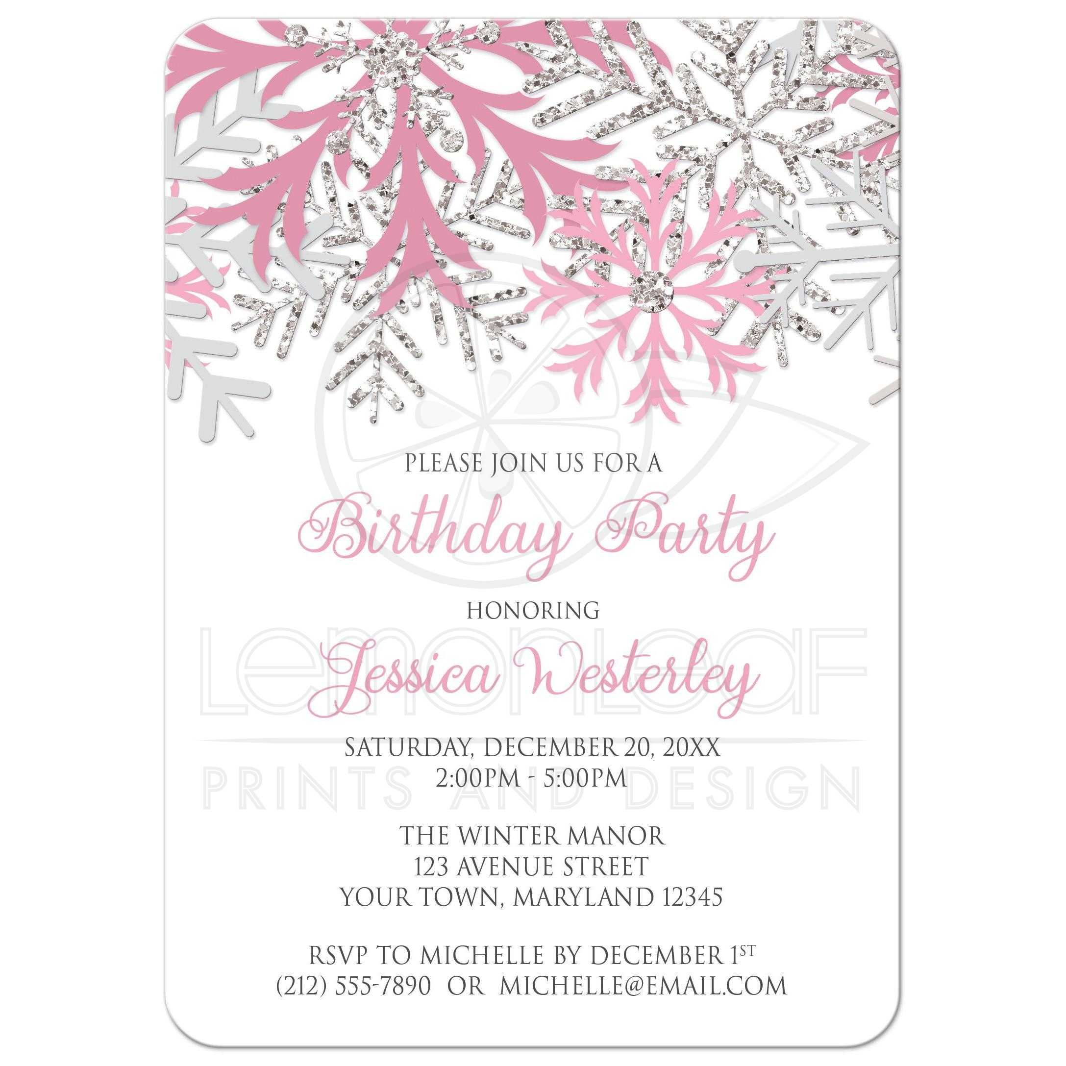 Birthday Invitations - Winter Snowflake Pink Silver