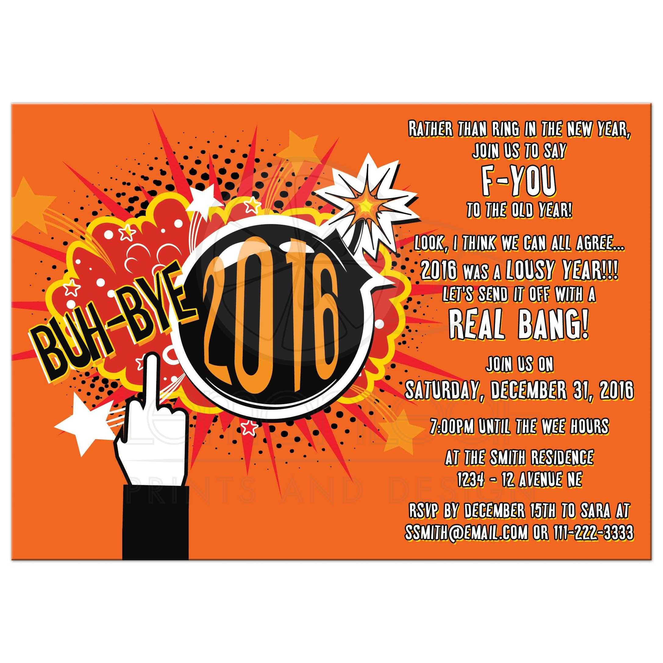 Novelty Blow Up 2016 Rude New Years Eve Party Invitation