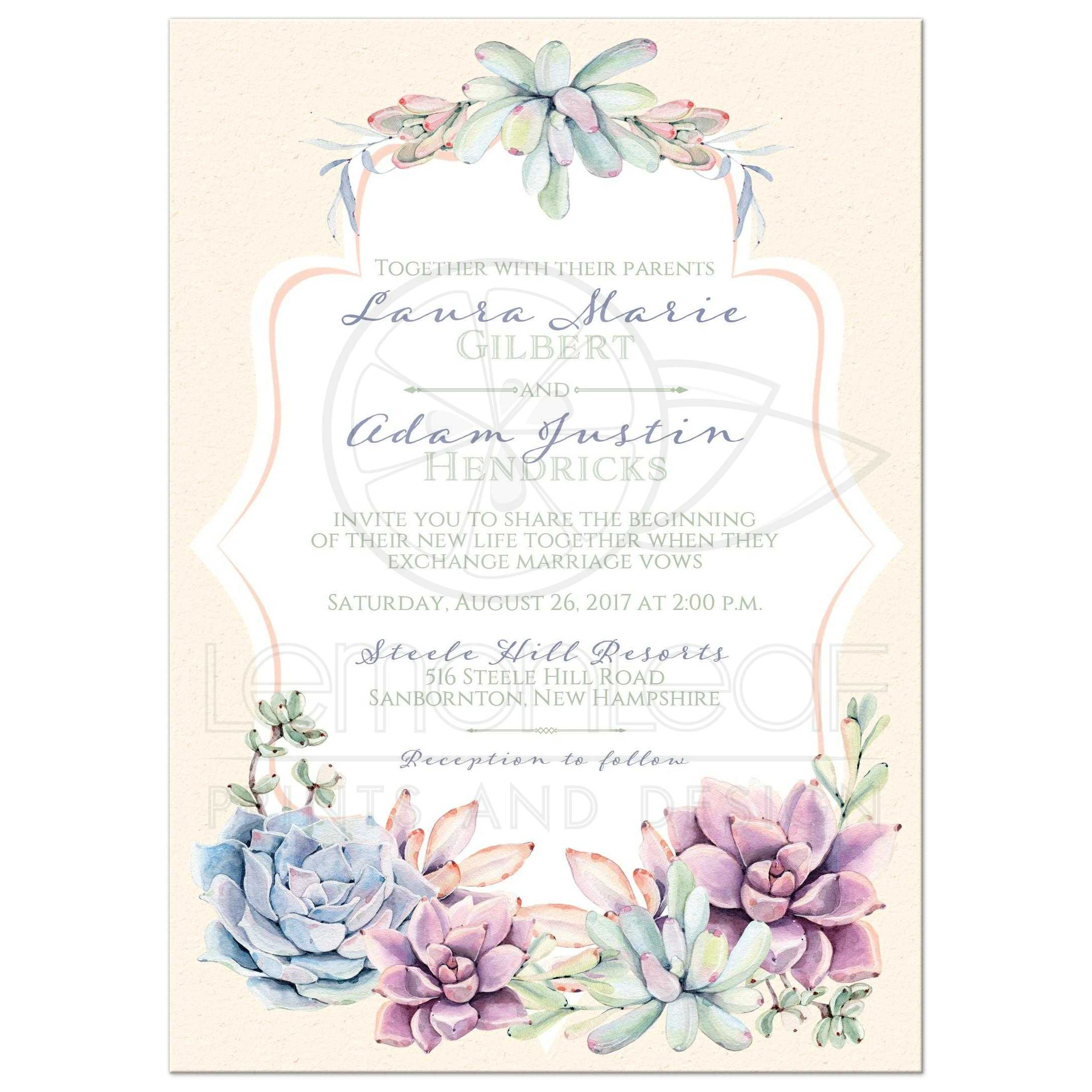 Pastels Peach, Green, Blue, Pink And Lavender Wedding Invitation With Cacti  And Succulents ...