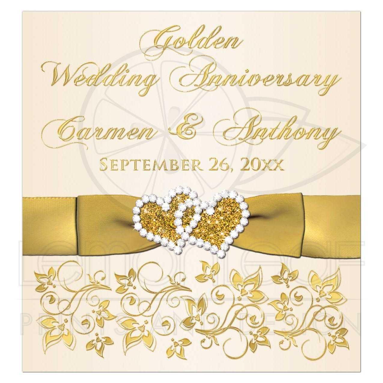 Golden Wedding Anniversary.Golden Wedding Anniversary Wine Or Beverage Bottle Label Ivory Gold Floral Printed Bow Jewels